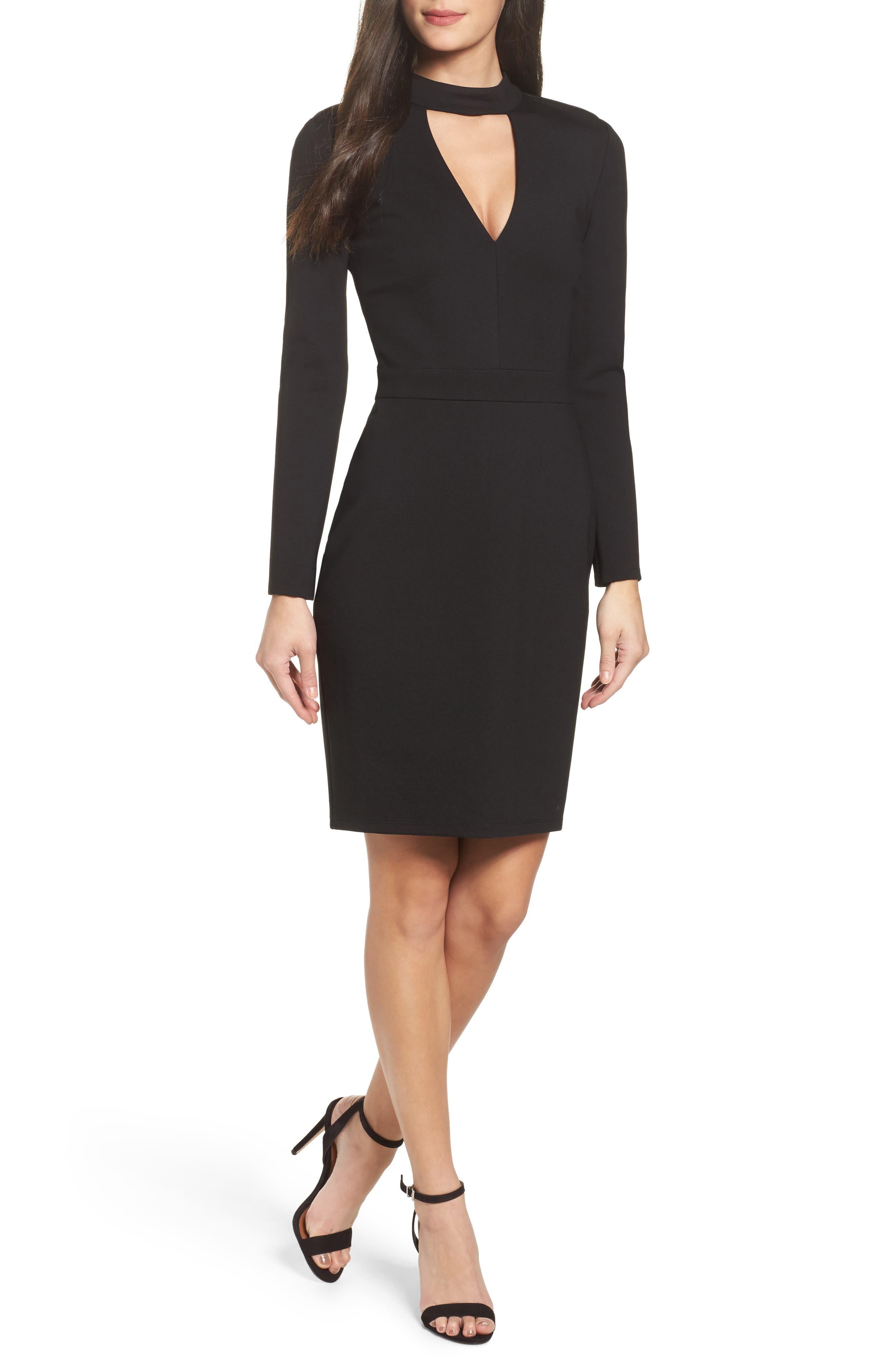 Laila Choker Body-Con Dress,                         Main,                         color, 001