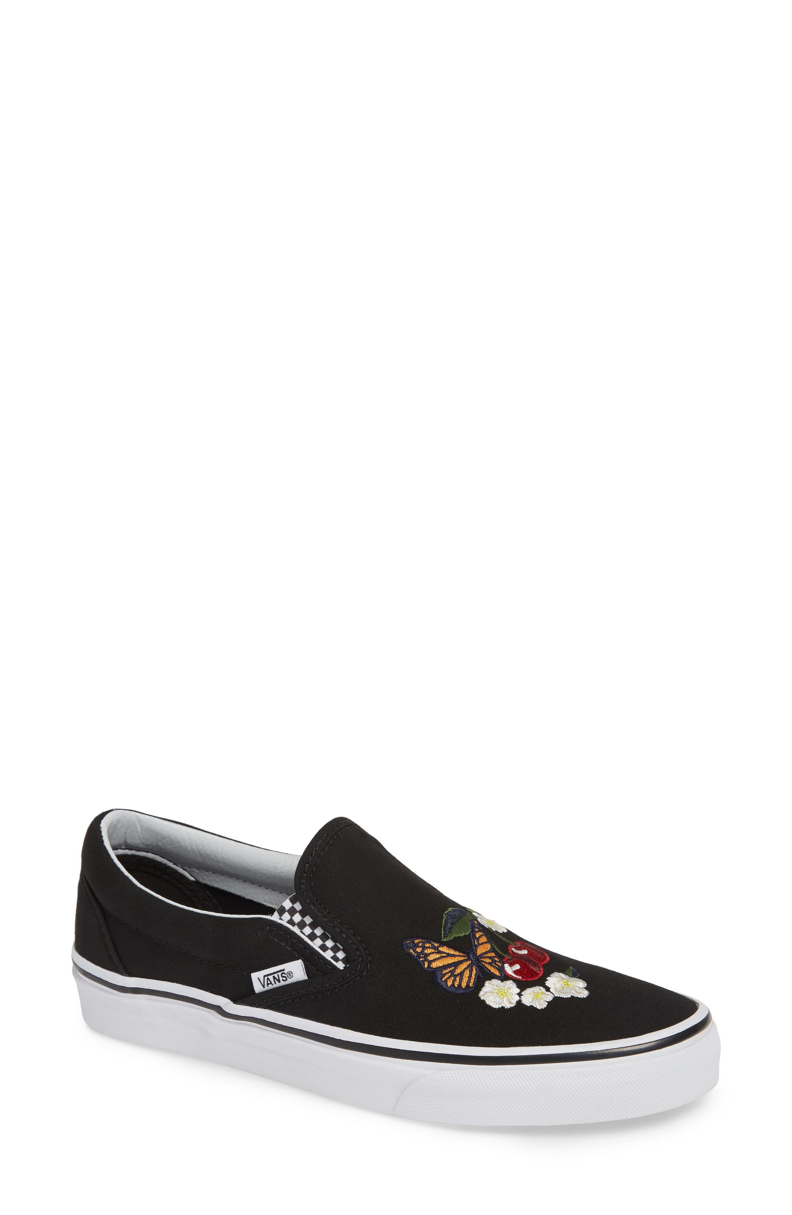 Classic Slip-On Sneaker,                             Main thumbnail 1, color,                             CHECKER FLORAL BLACK