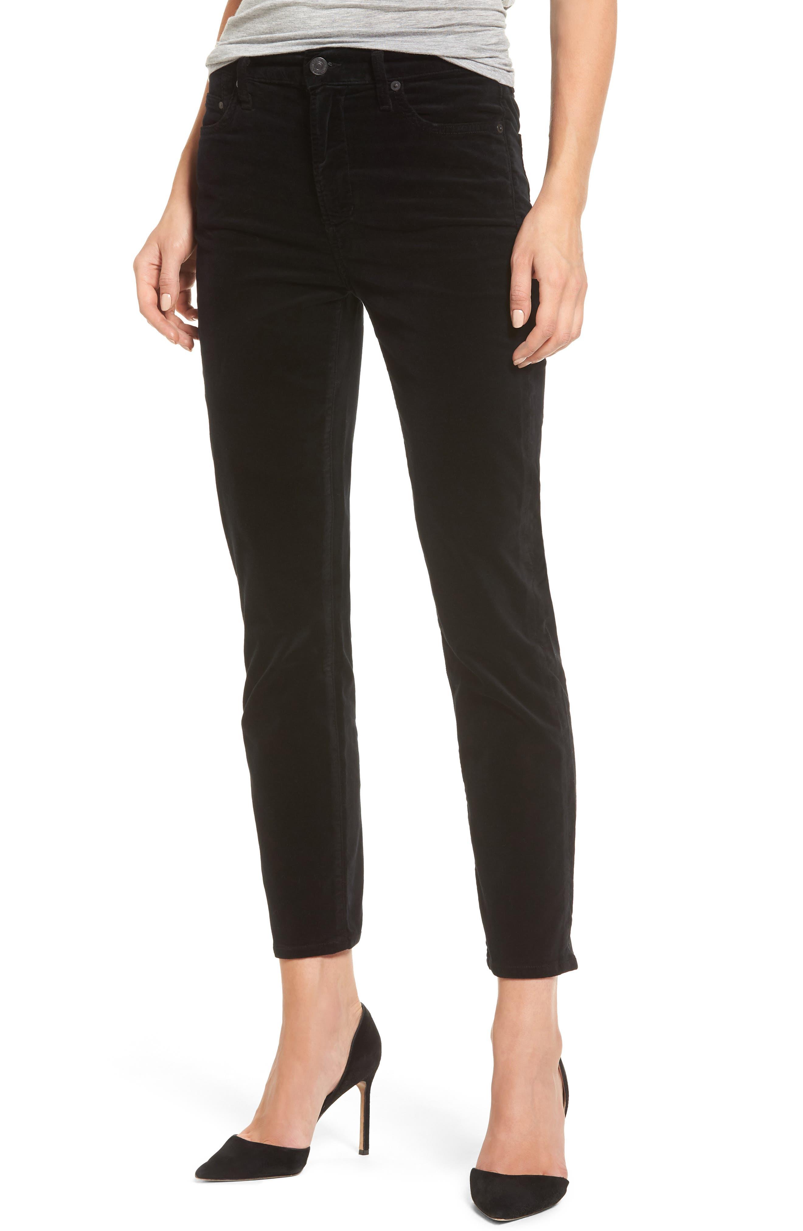 Cara High Waist Ankle Cigarette Velvet Pants,                         Main,                         color, 004
