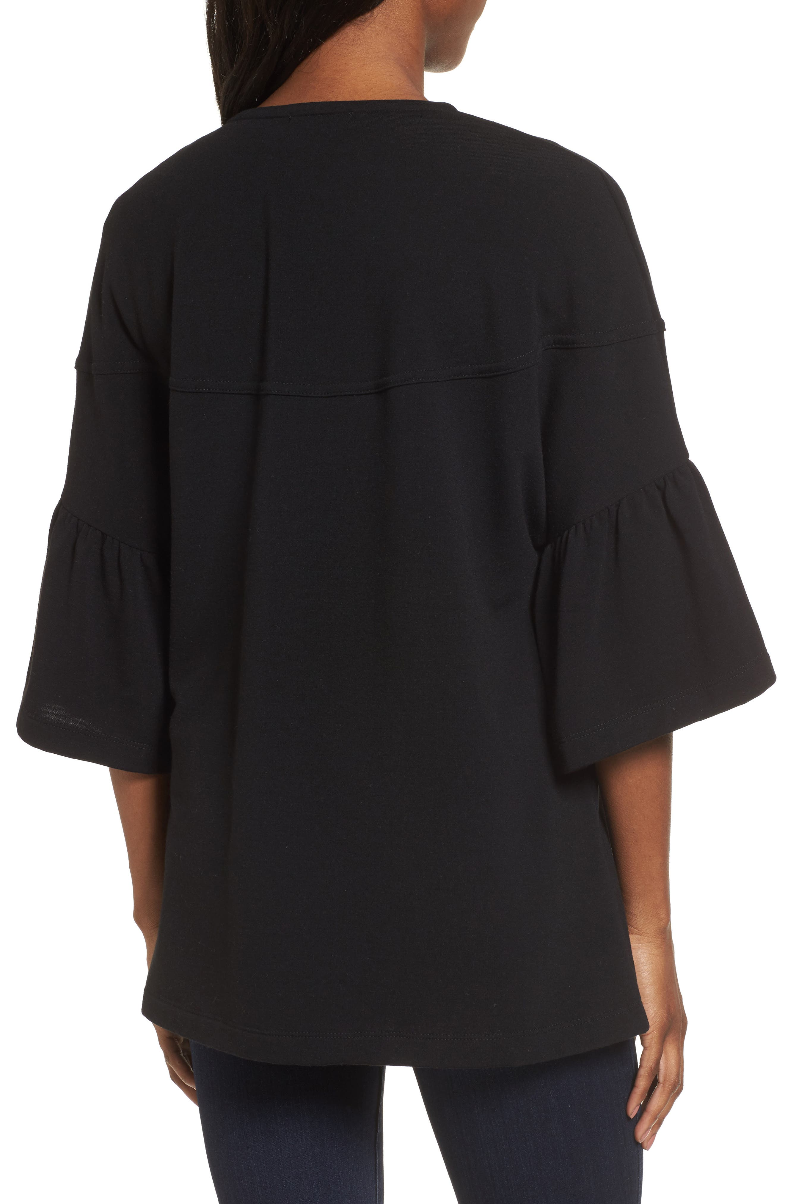 Bell Sleeve French Terry Jacket,                             Alternate thumbnail 2, color,                             BLACK