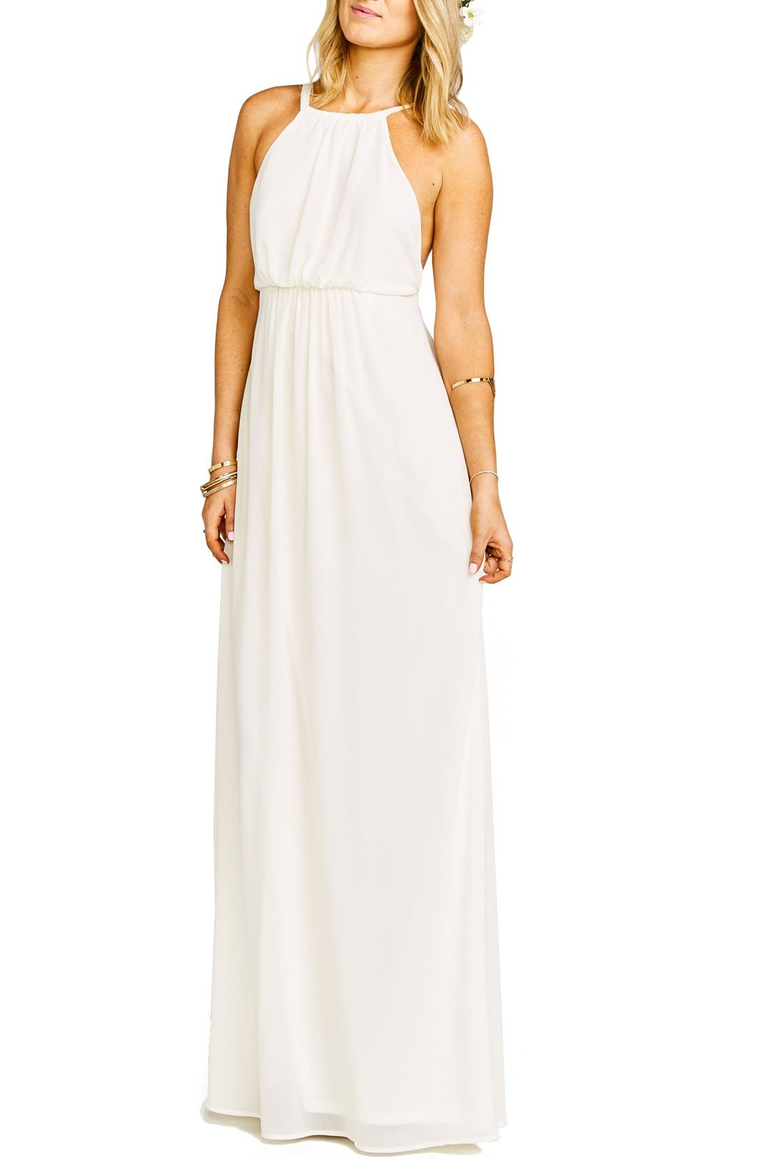 Amanda Open Back Blouson Gown,                             Main thumbnail 3, color,