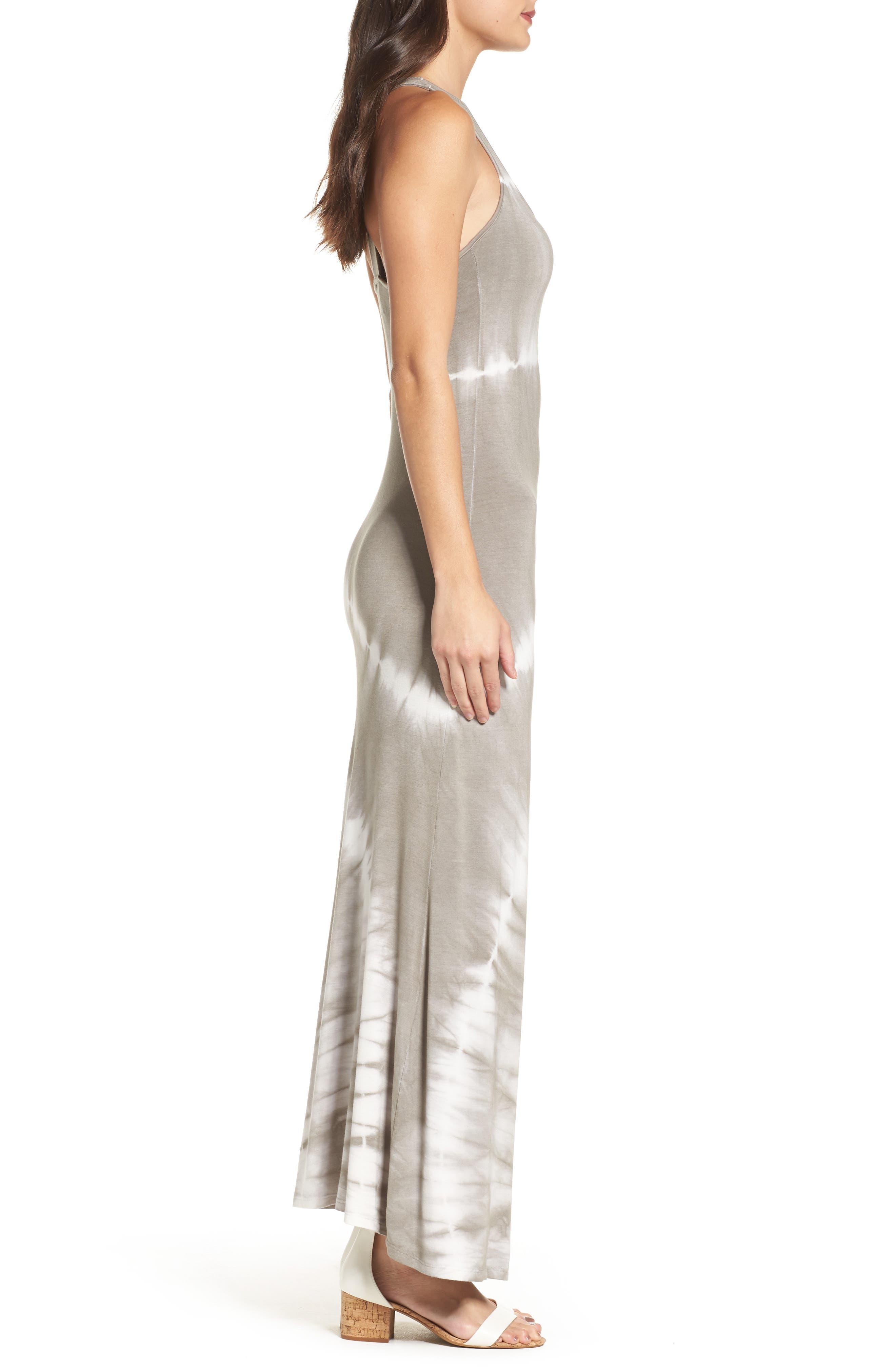 Tie Dye Racerback Maxi Dress,                             Alternate thumbnail 4, color,                             GREY/ WHITE