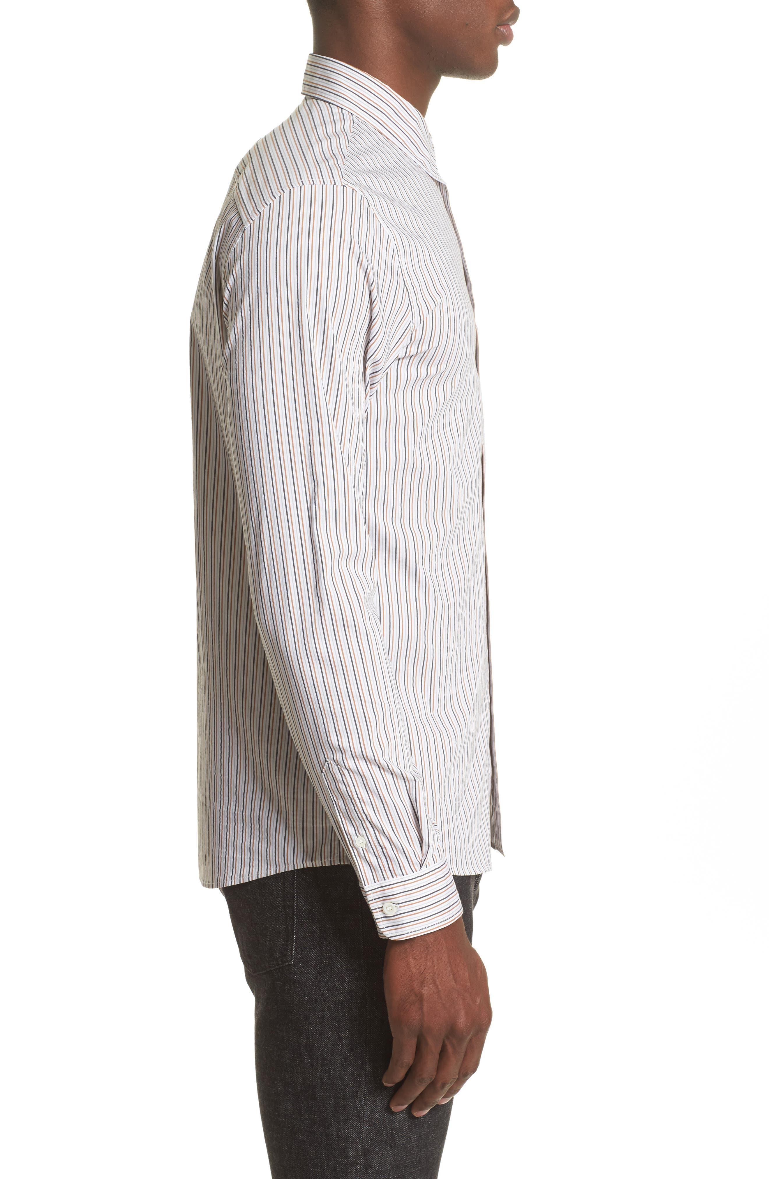 Franklin Extra Trim Fit Stripe Sport Shirt,                             Alternate thumbnail 4, color,                             100