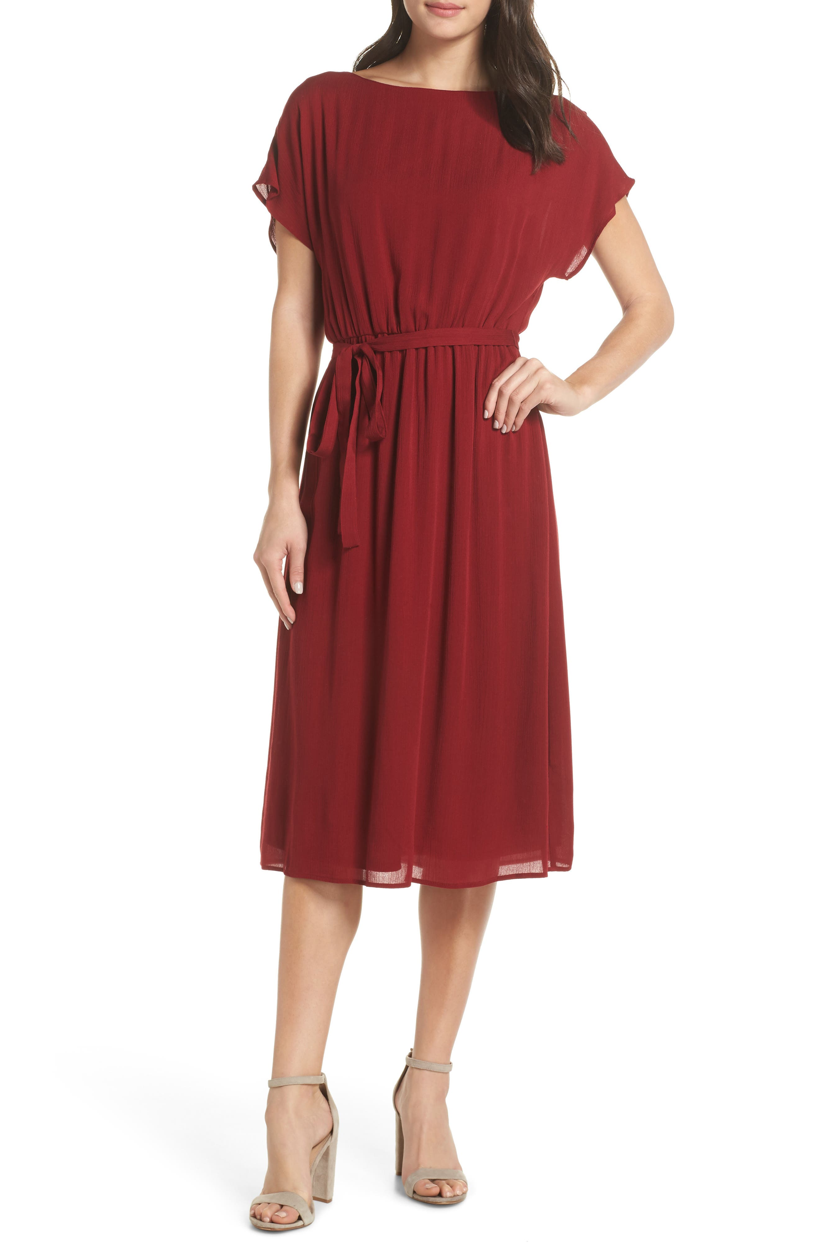 CHARLES HENRY Dolman Midi Dress in Burgundy
