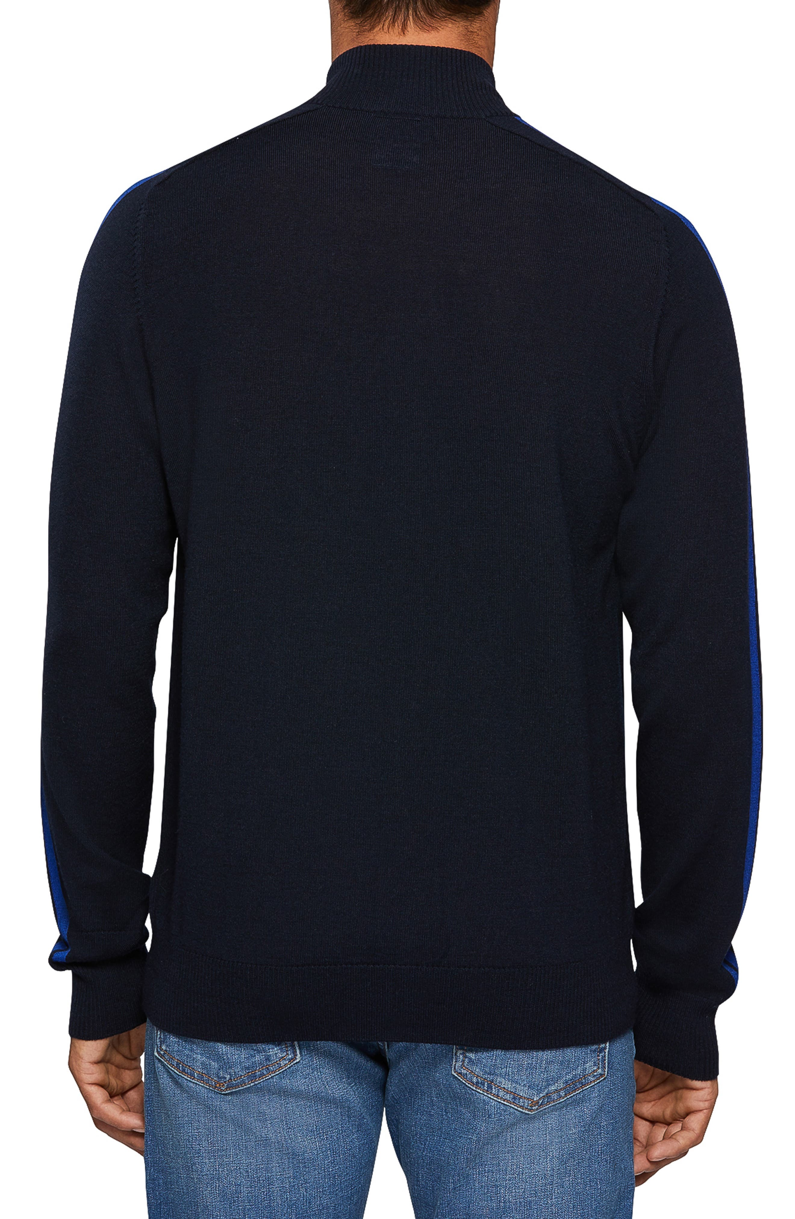 Zip Front Merino Sweater,                             Alternate thumbnail 2, color,                             NAVY