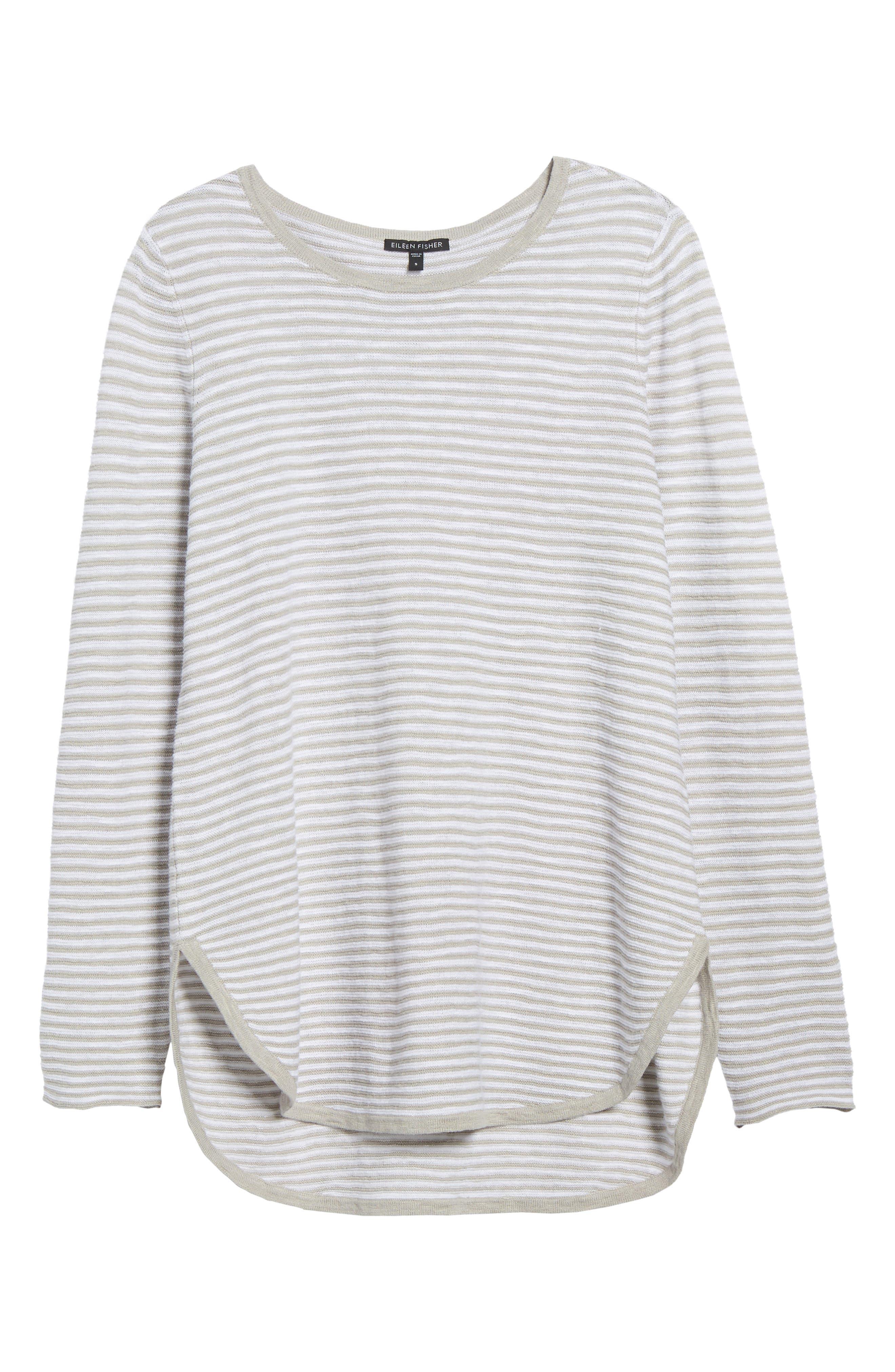 Stripe Organic Linen & Cotton Sweater,                             Alternate thumbnail 6, color,                             192