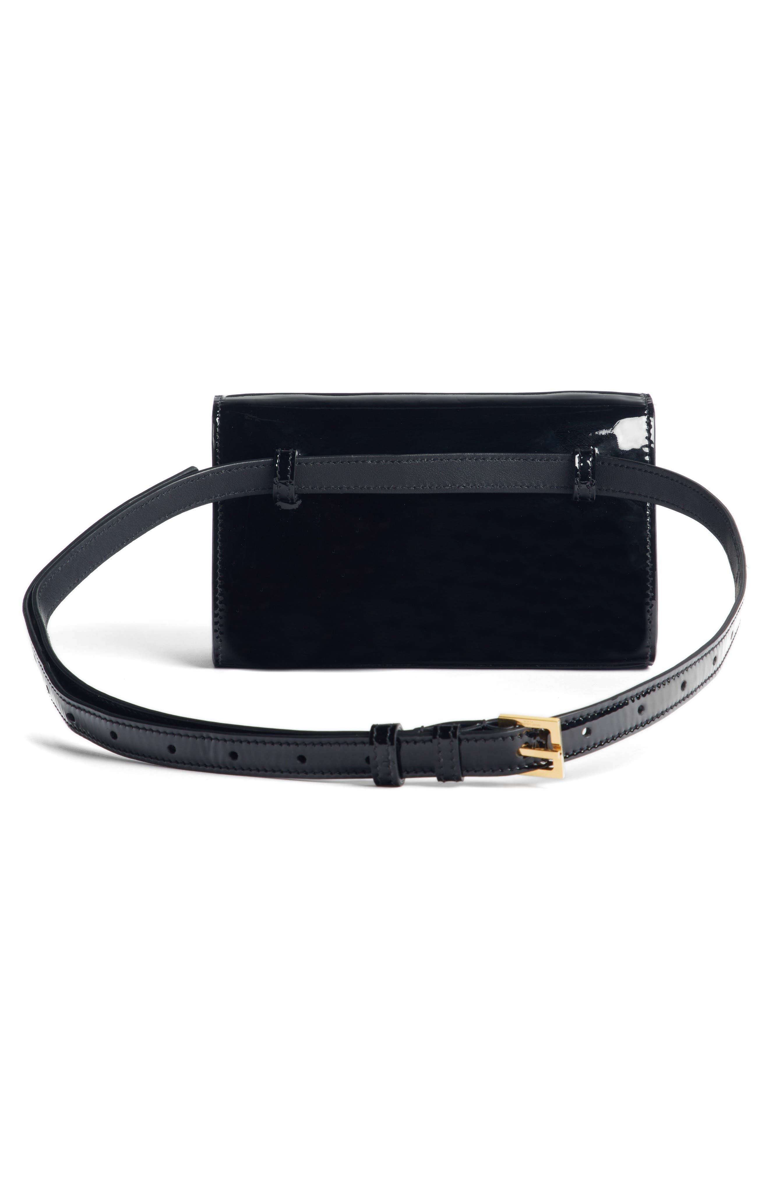SAINT LAURENT,                             Kate Patent Leather Belt Bag,                             Alternate thumbnail 3, color,                             NOIR