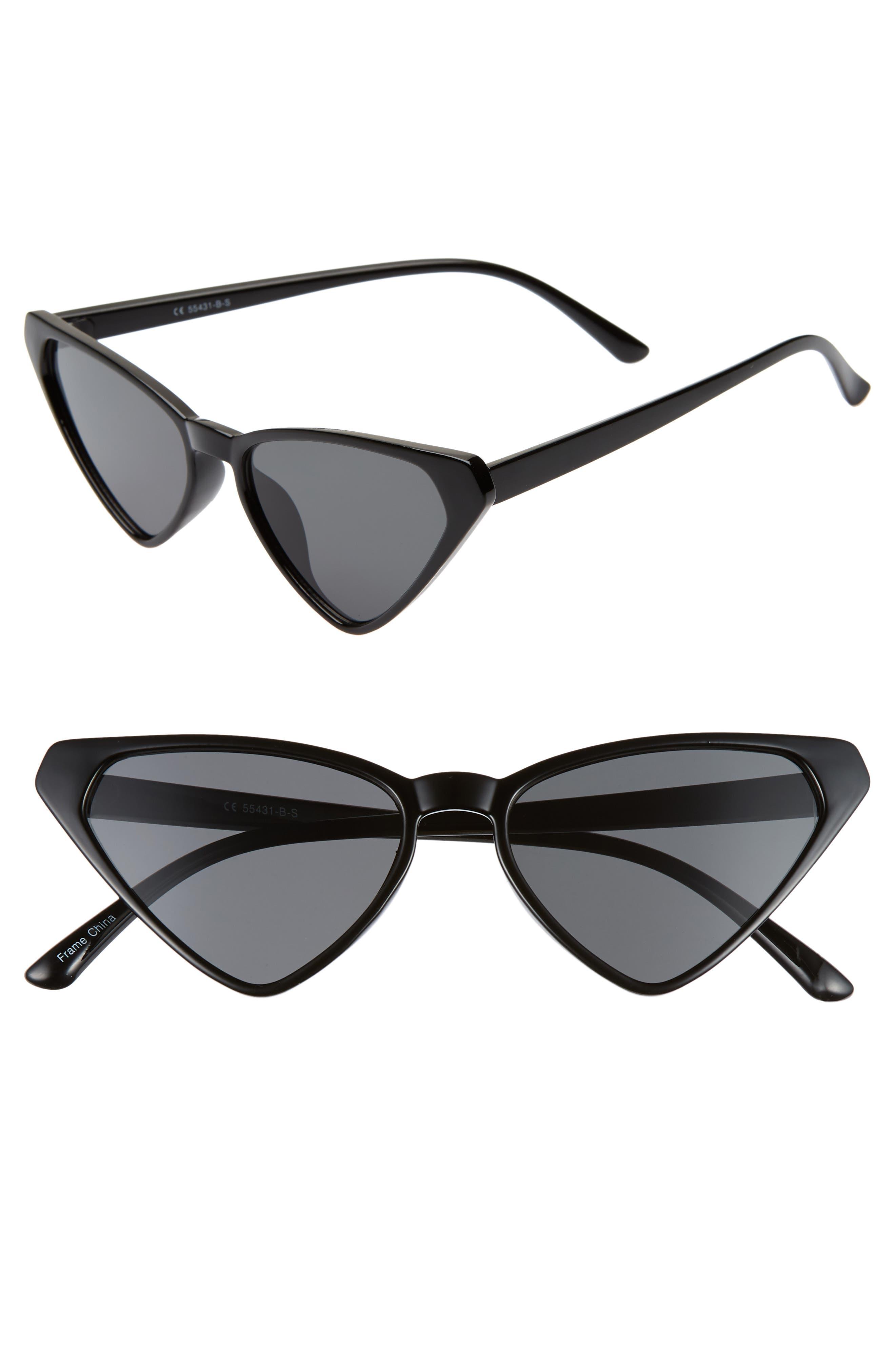54mm Angular Cat Eye Sunglasses,                             Main thumbnail 1, color,                             BLACK