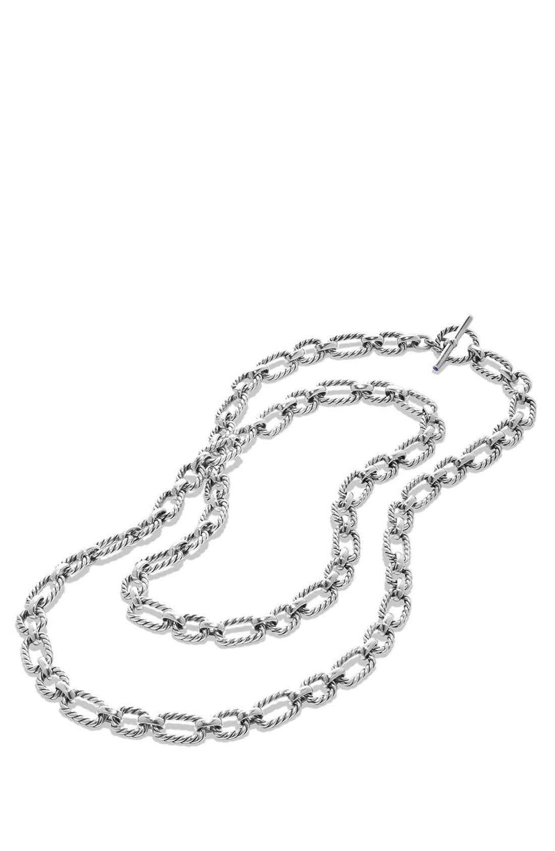 'Chain' Long Cushion Link Necklace with Blue Sapphires,                             Alternate thumbnail 2, color,                             SILVER