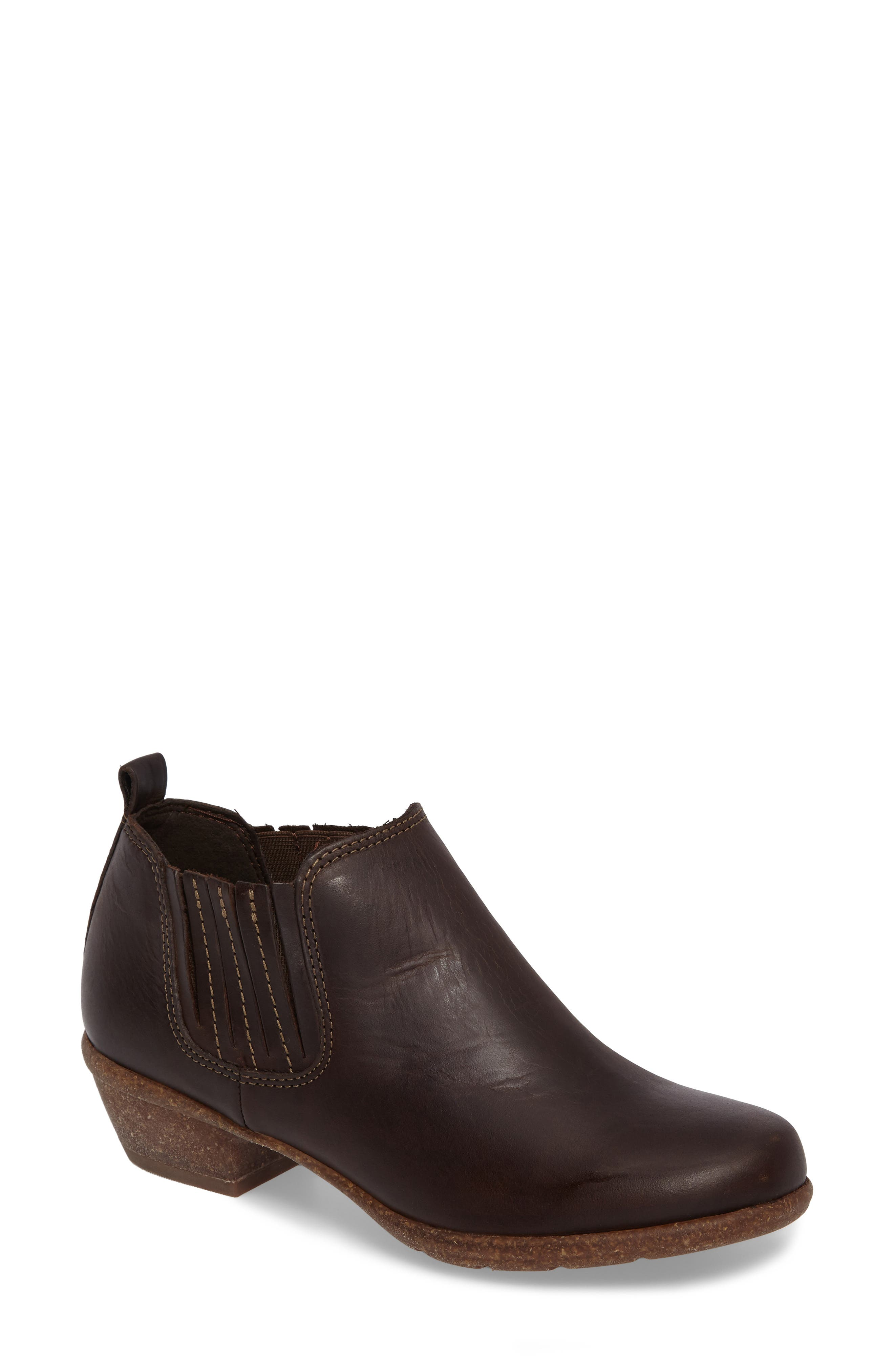 Wilrose Jade Low Chelsea Bootie,                             Main thumbnail 1, color,                             BROWN NUBUCK LEATHER
