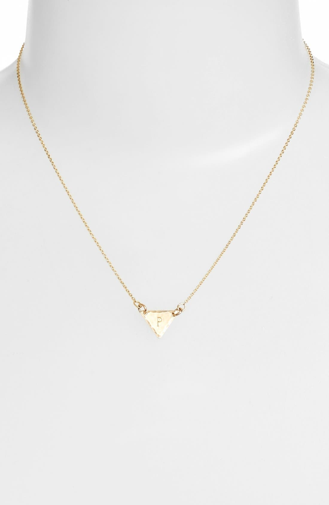 14k-Gold Fill Initial Triangle Necklace,                             Alternate thumbnail 42, color,