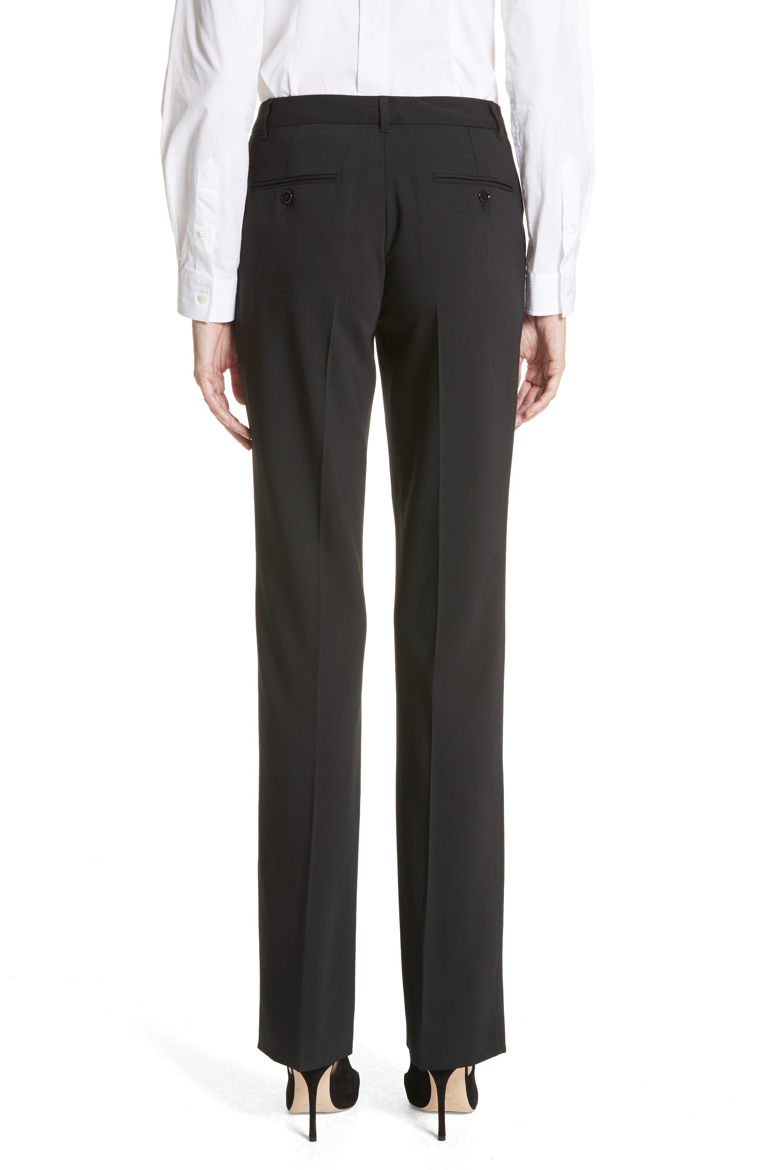 Straight Leg Stretch Wool Trousers,                             Alternate thumbnail 3, color,                             BLACK