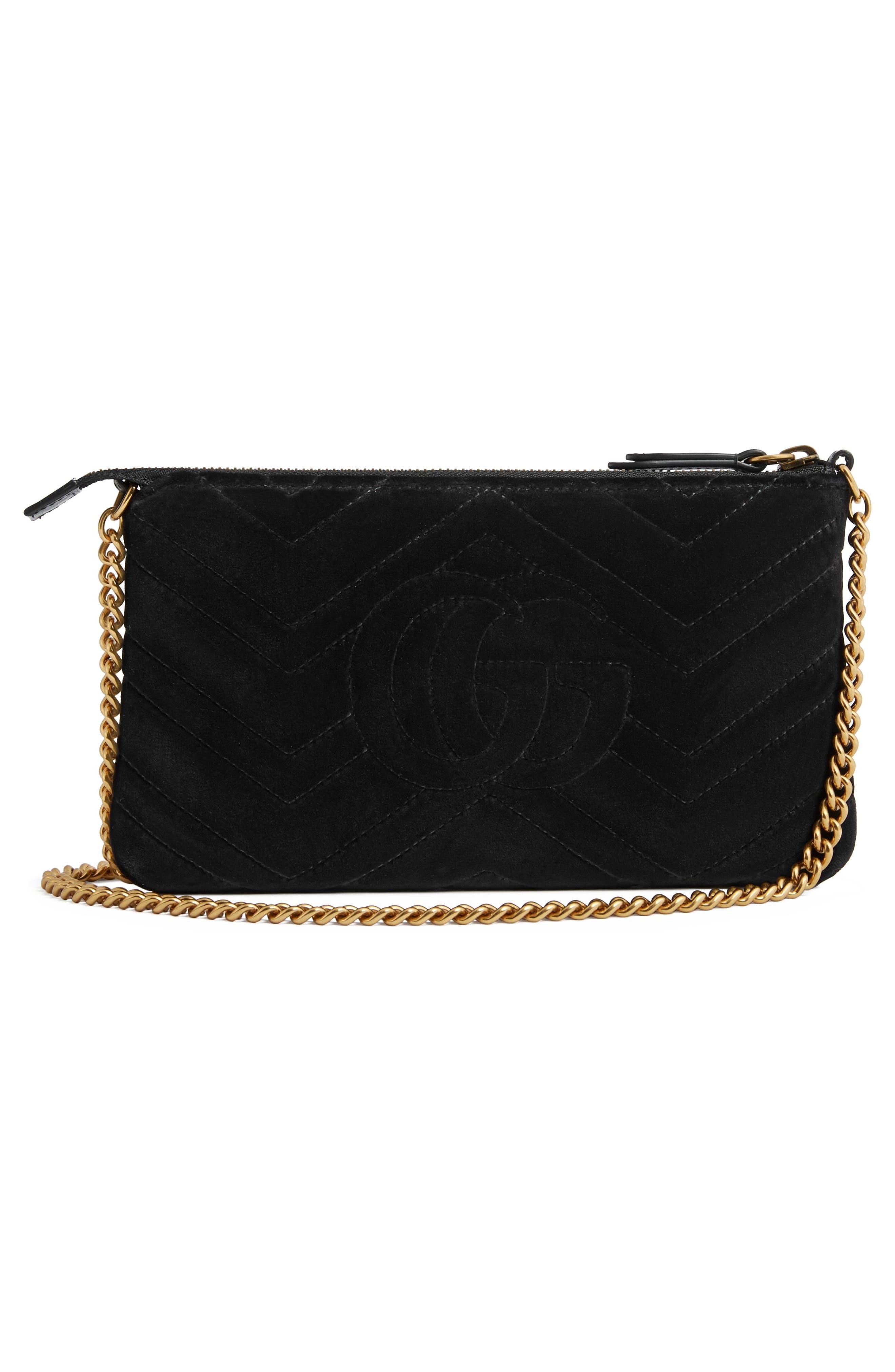 Mini GG Marmont 2.0 Matelassé Velvet Shoulder Bag,                             Alternate thumbnail 2, color,                             001