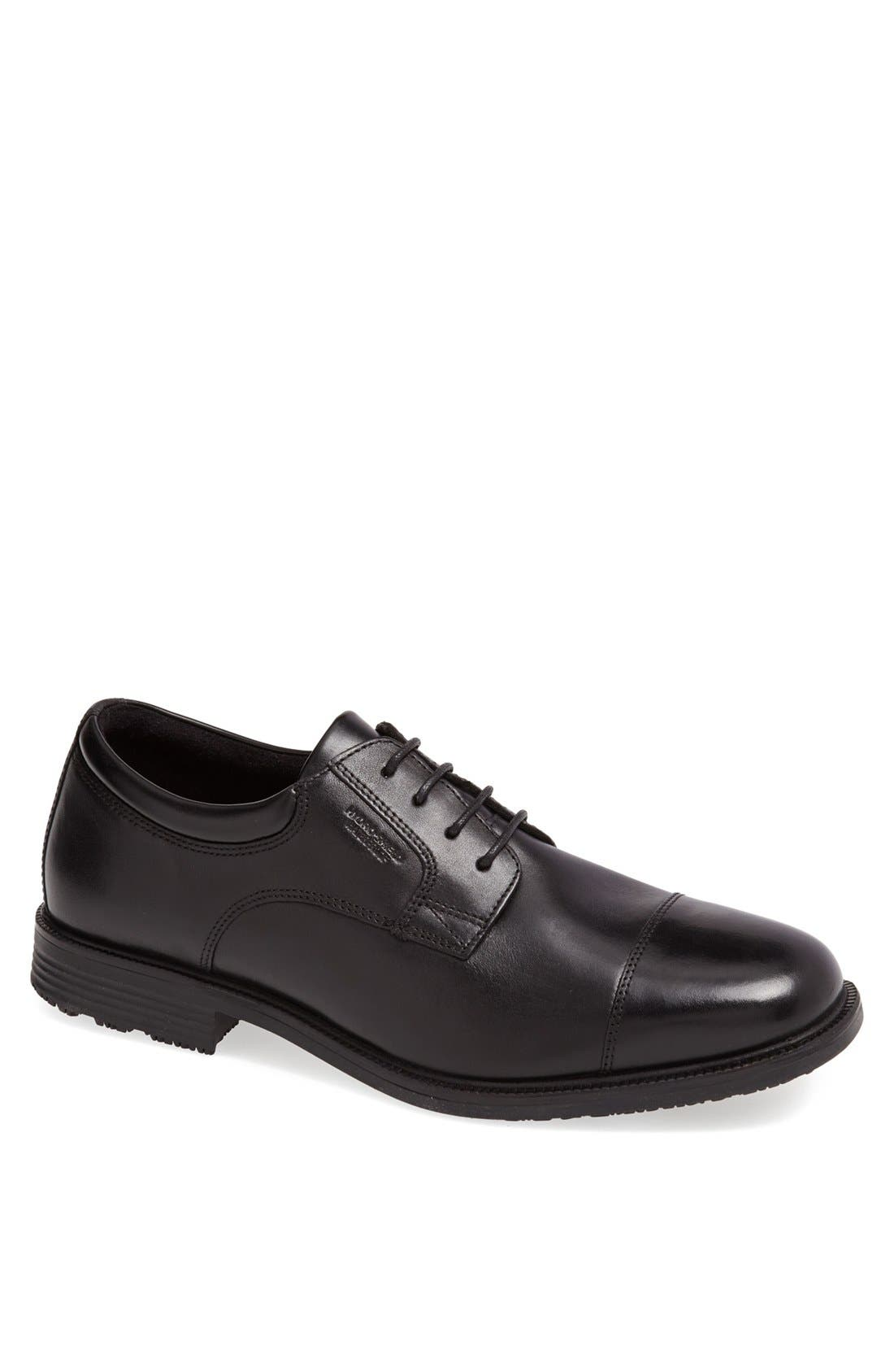 'Essential Details' Waterproof Cap Toe Derby,                             Main thumbnail 1, color,                             BLACK