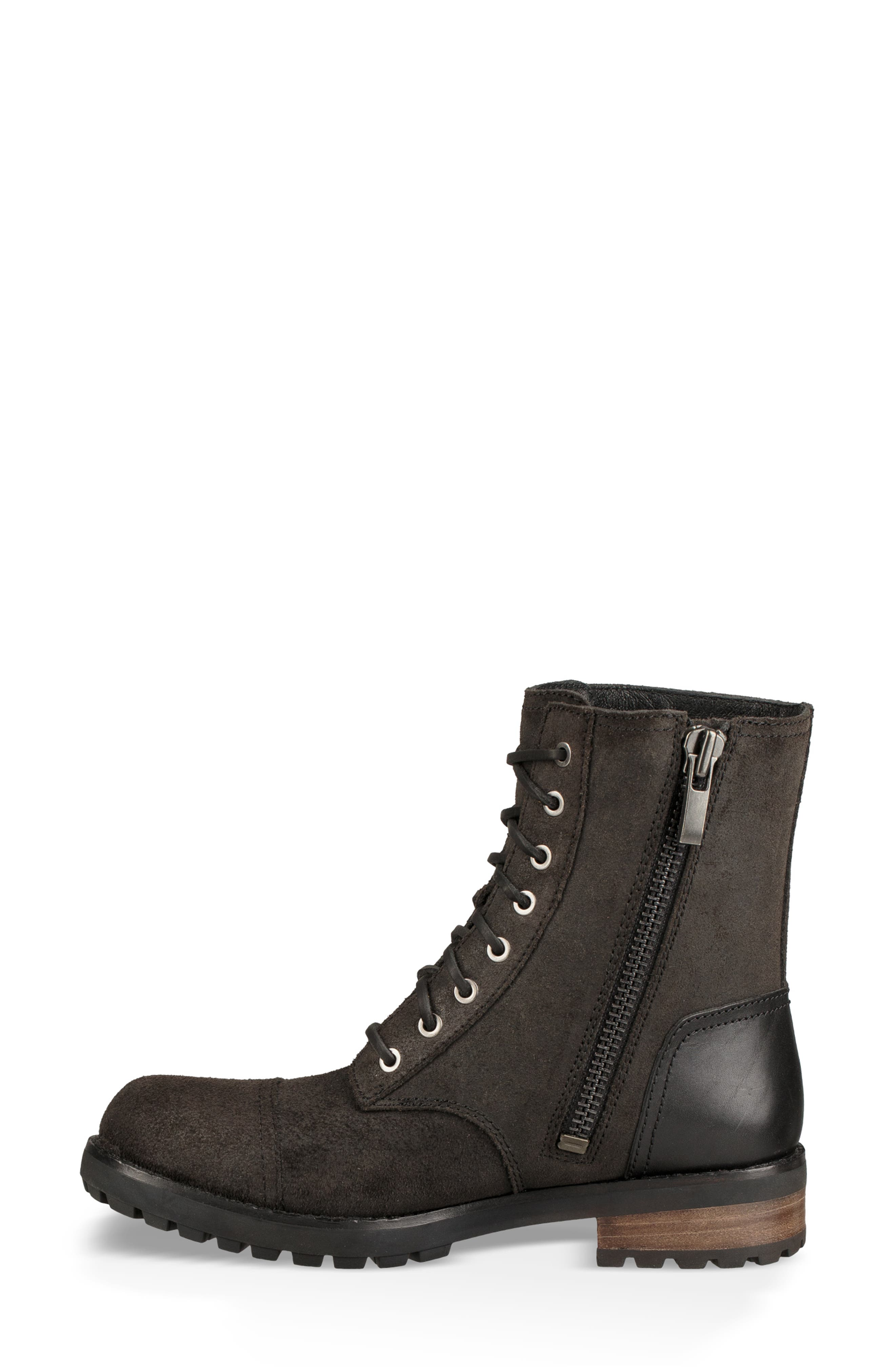 Kilmer II Genuine Shearling Lined Water Resistant Bootie,                             Alternate thumbnail 6, color,                             BLACK LEATHER
