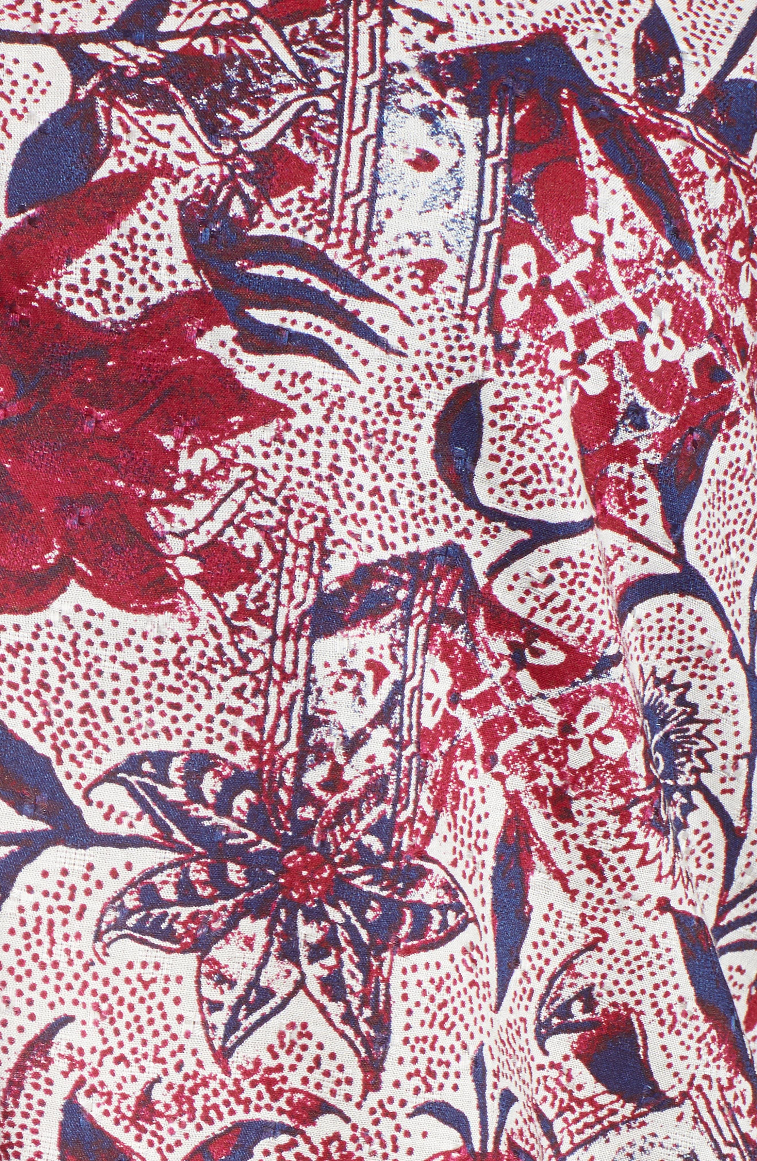 Floral Print Top,                             Alternate thumbnail 5, color,                             RASPBERRY MULTI