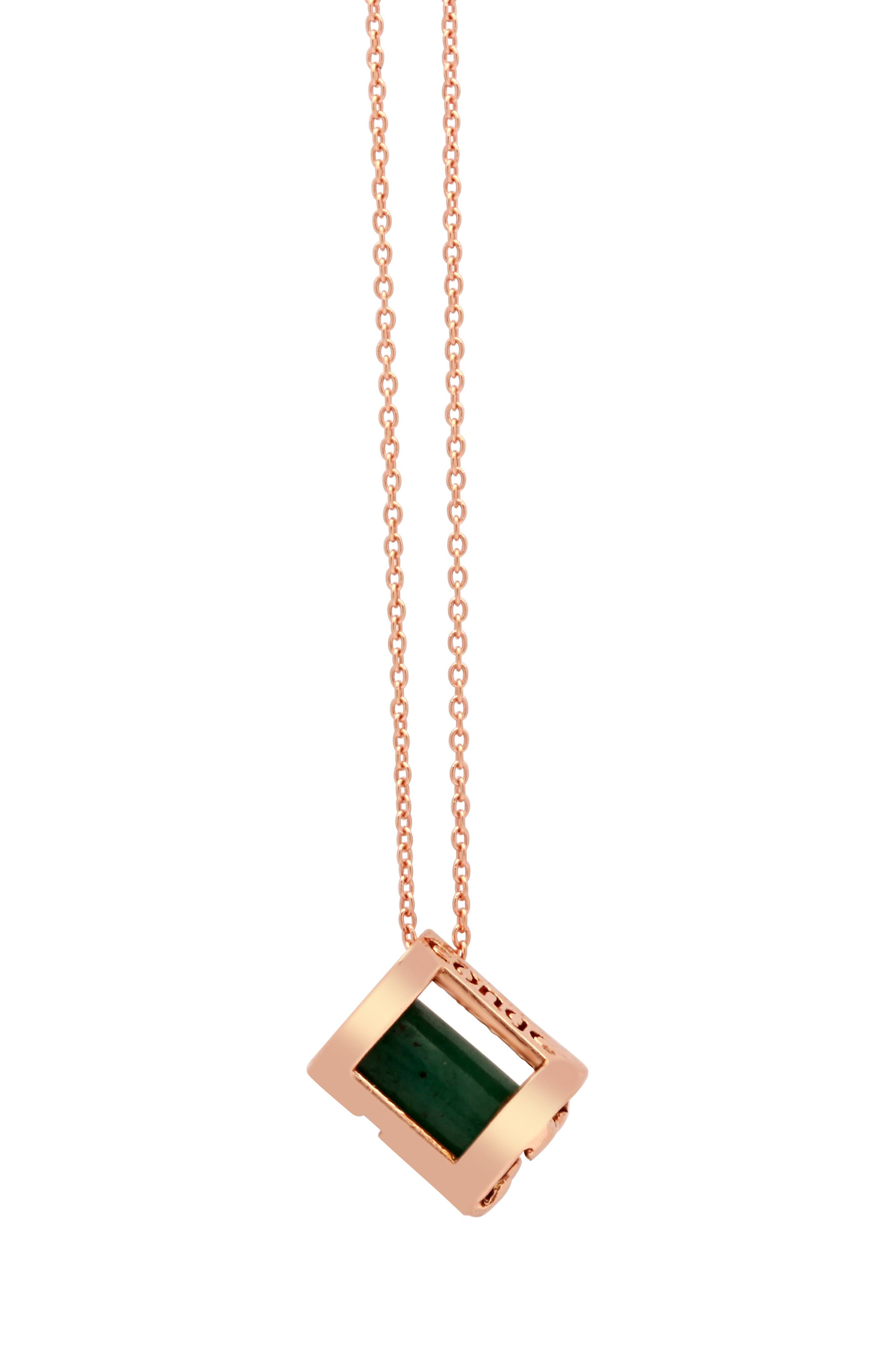 Optimism & Luck Aventurine Initial Barrel Initial Necklace,                             Alternate thumbnail 4, color,                             ROSE GOLD-A
