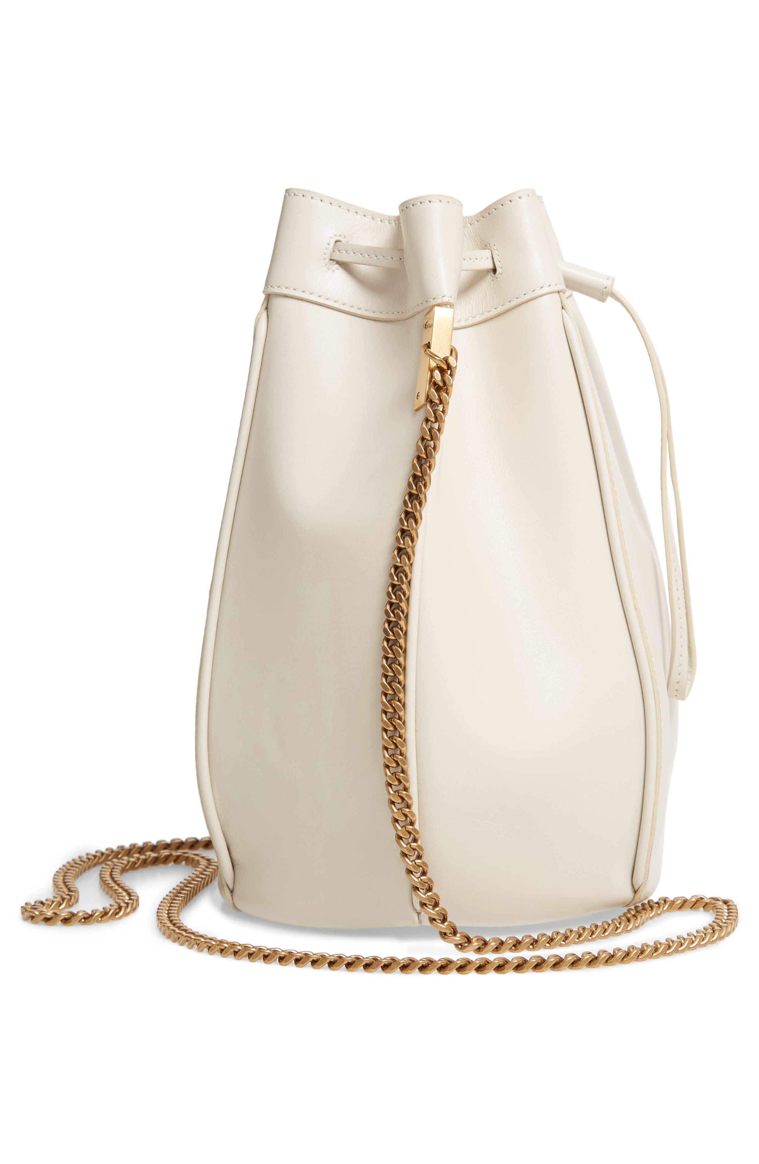 Small Talitha Leather Bucket Bag,                             Alternate thumbnail 5, color,                             CREMASOFT