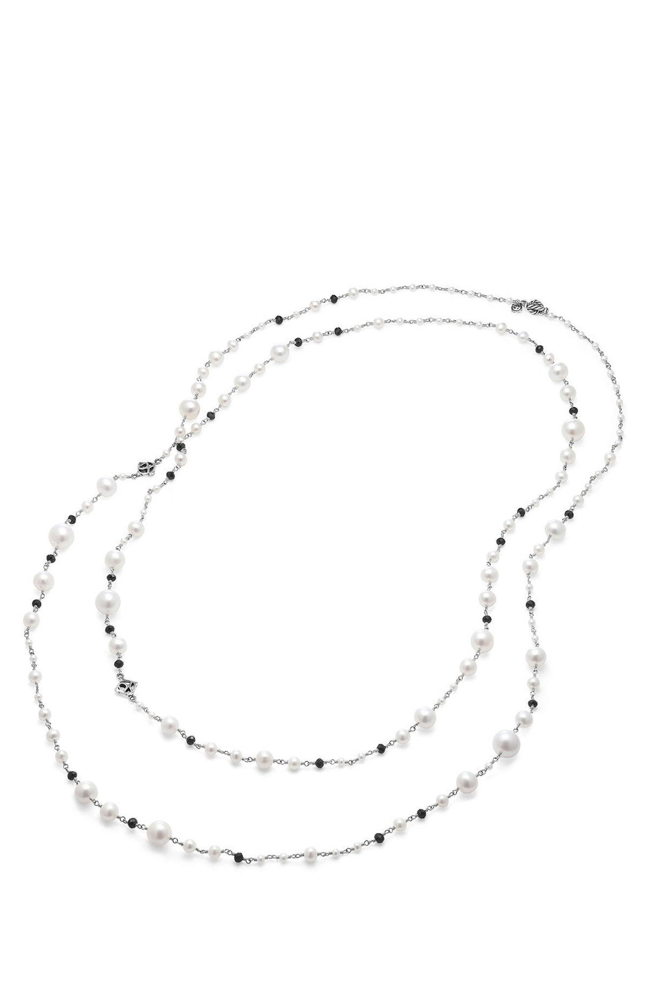 Solari Pearl & Bead Necklace,                             Alternate thumbnail 2, color,                             PEARL/ BLACK SPINEL