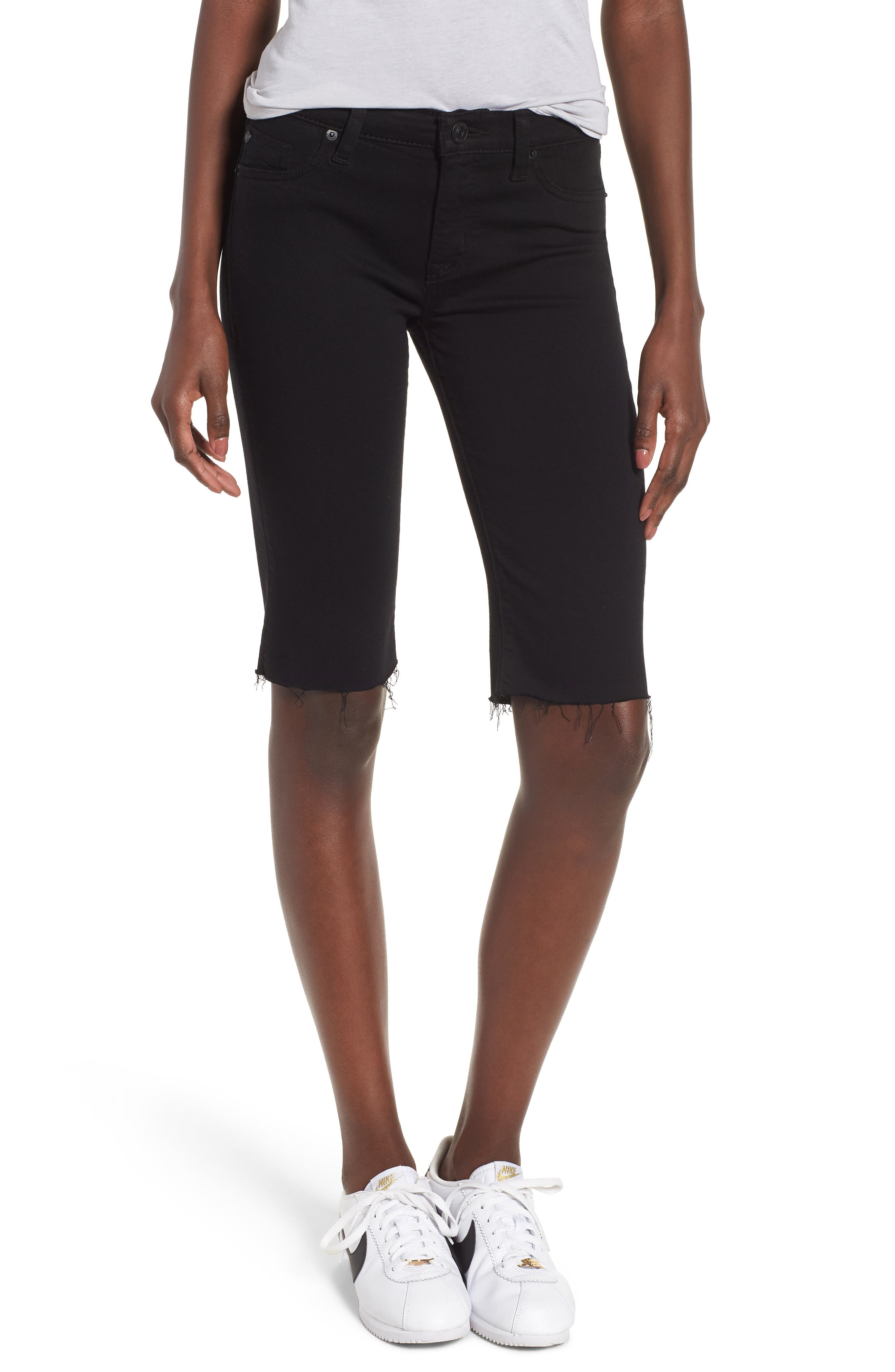 Amelia Cutoff Knee Shorts,                             Main thumbnail 1, color,                             BLACK