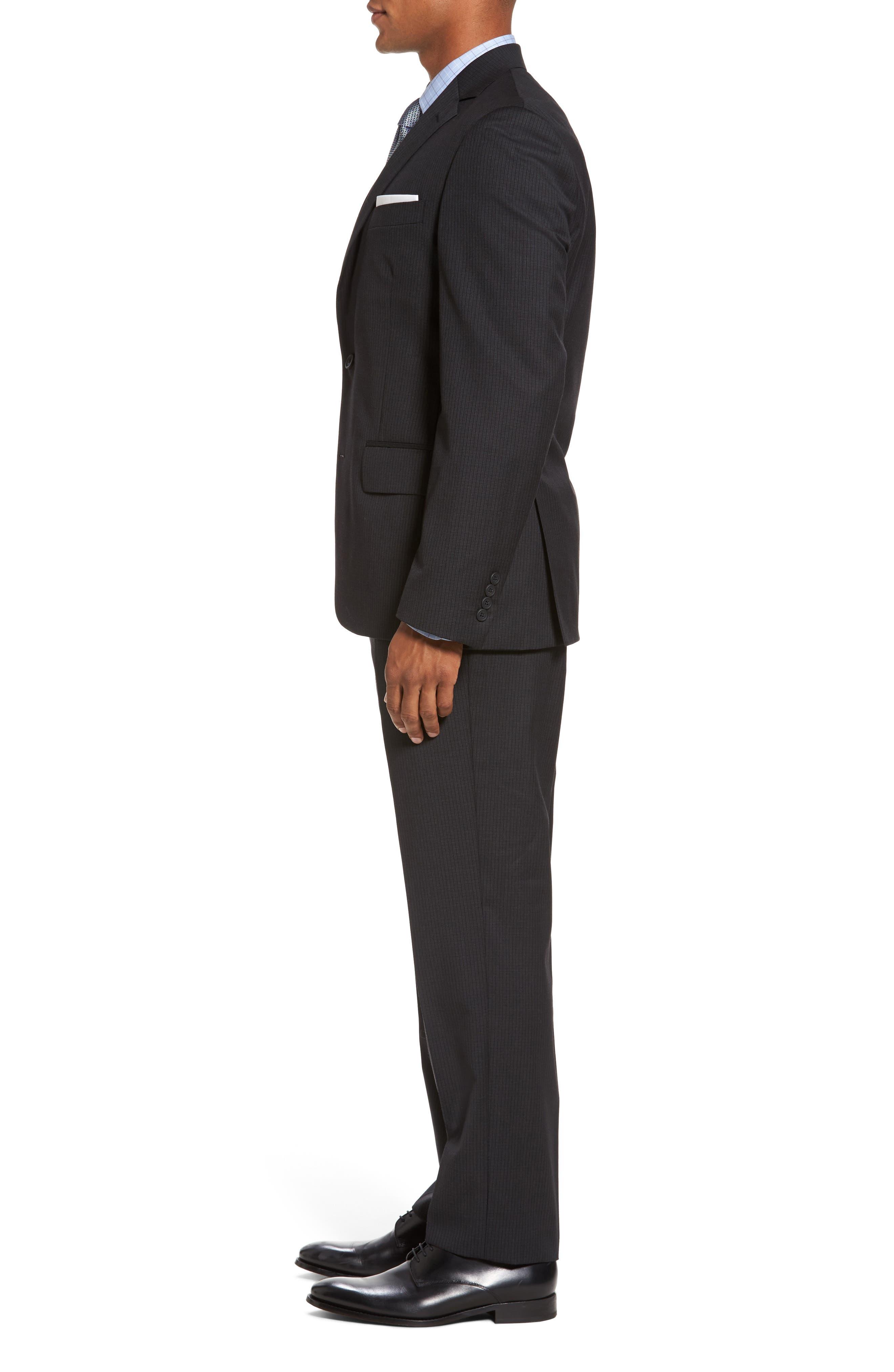 Classic Fit Check Wool Suit,                             Alternate thumbnail 3, color,                             001