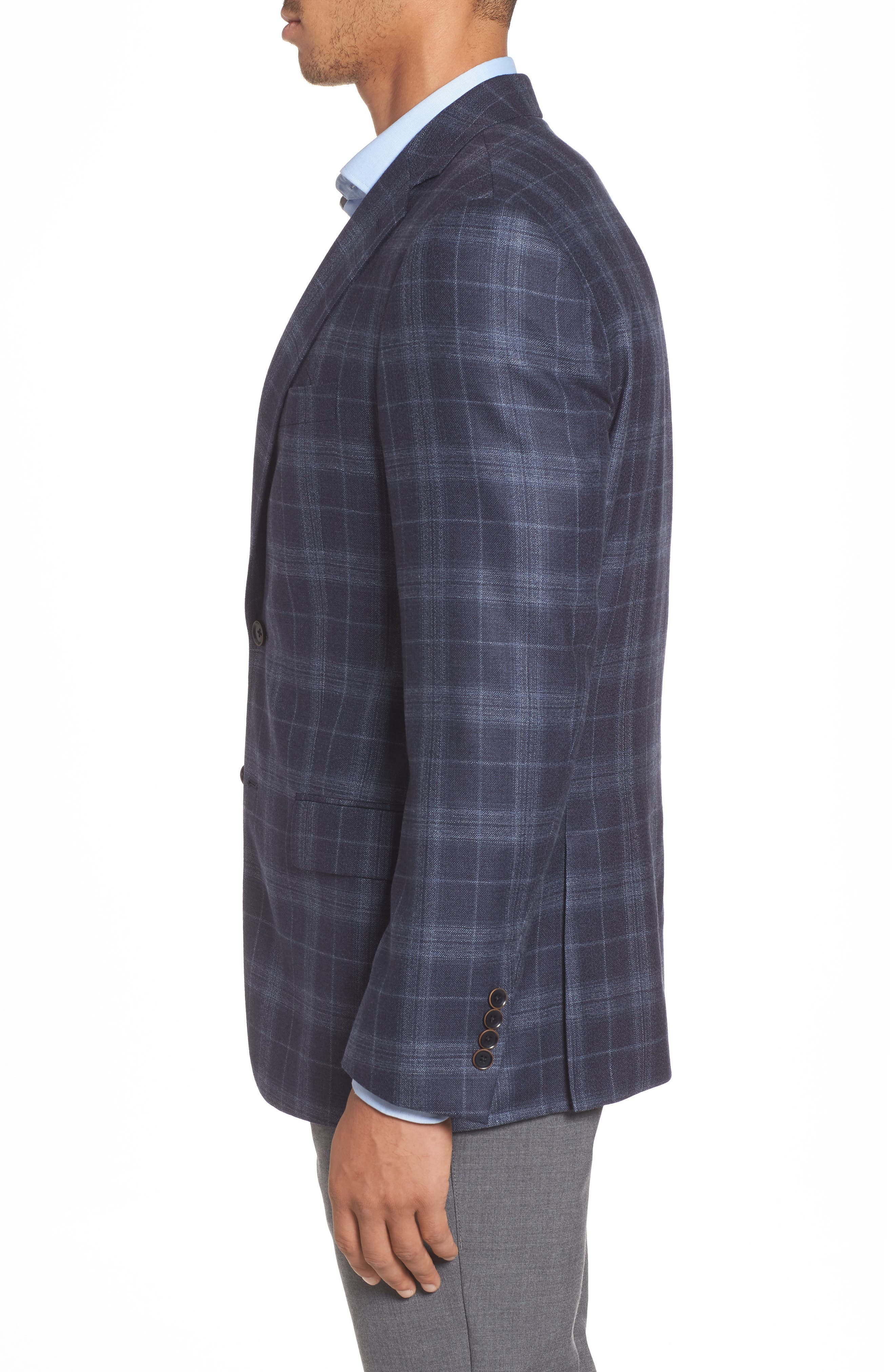 Classic Fit Plaid Wool & Silk Sport Coat,                             Alternate thumbnail 3, color,                             NAVY