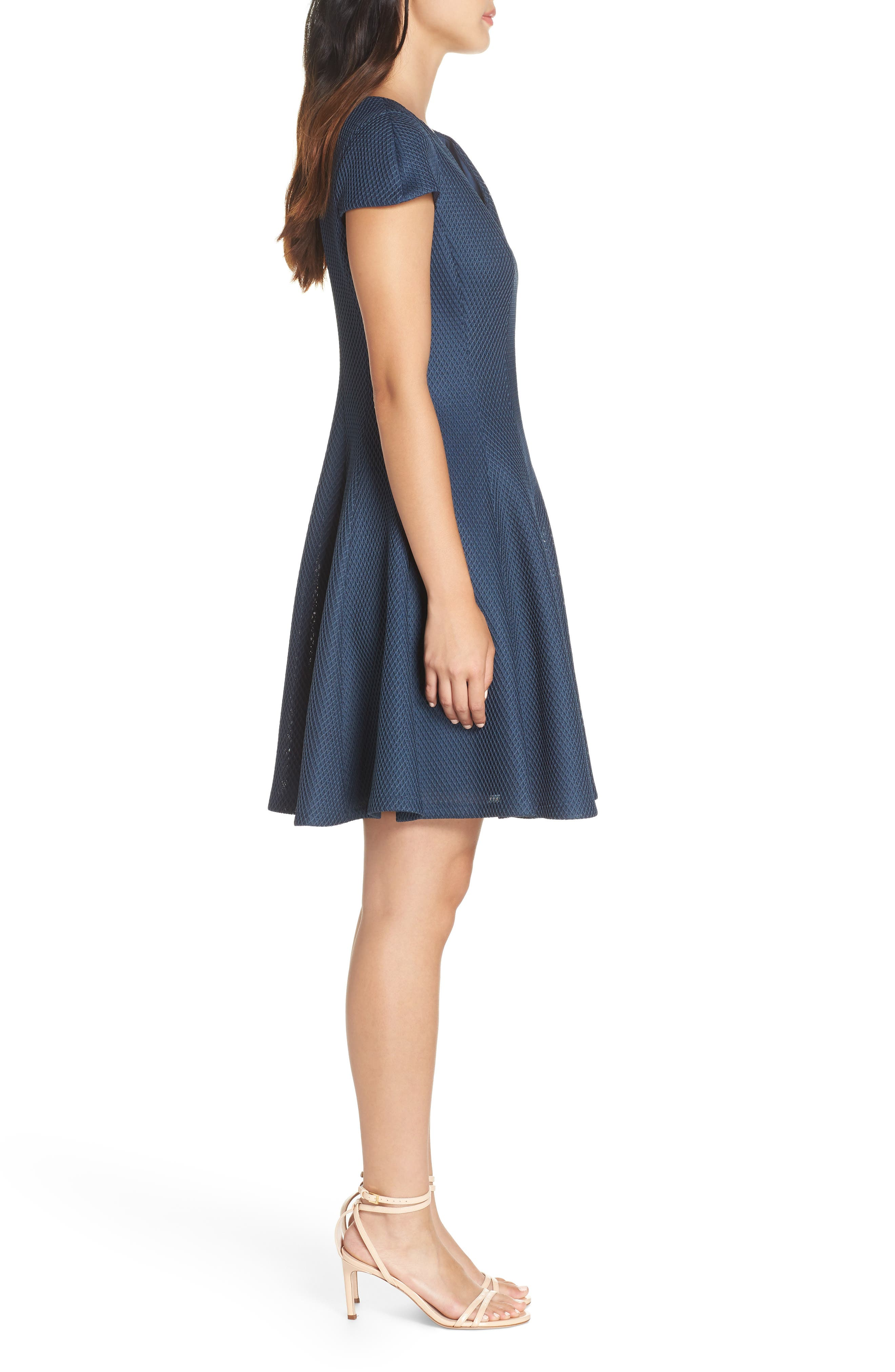 Fit & Flare Dress,                             Alternate thumbnail 3, color,                             PEACOCK