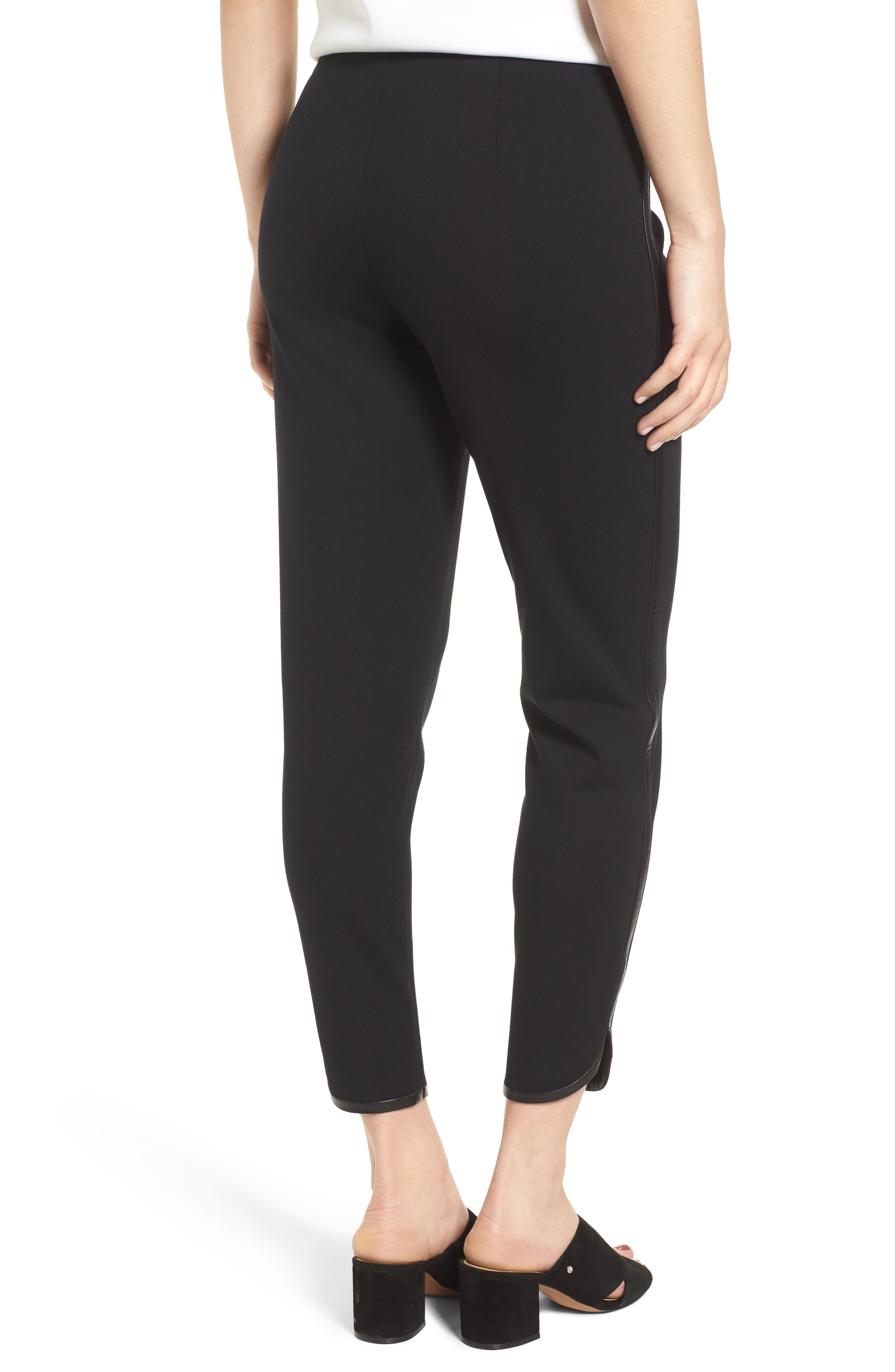 Ponte Knit Crop Pants,                             Alternate thumbnail 2, color,                             BLACK
