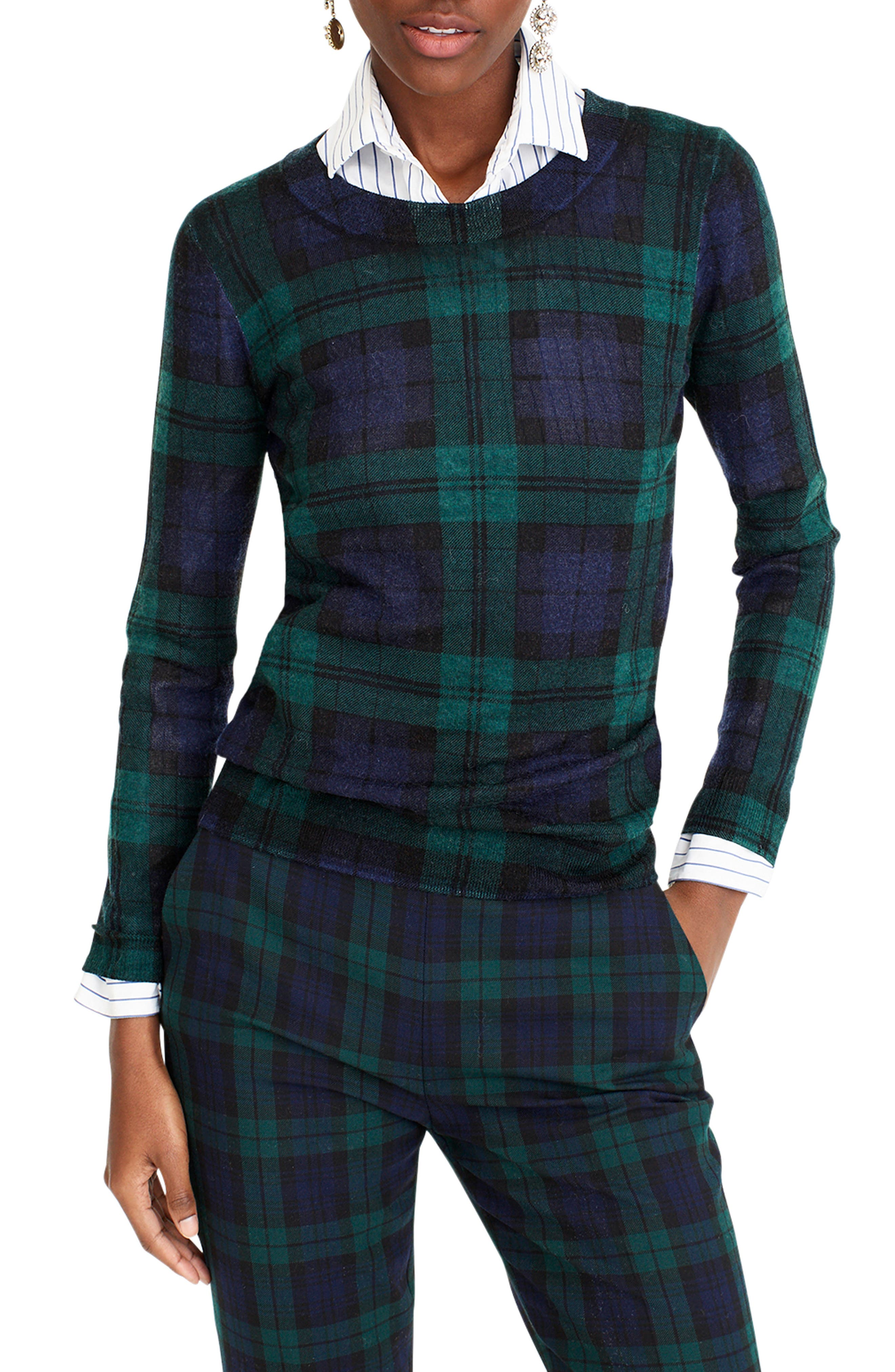 J.CREW,                             Blackwatch Plaid Tippi Sweater,                             Main thumbnail 1, color,                             009