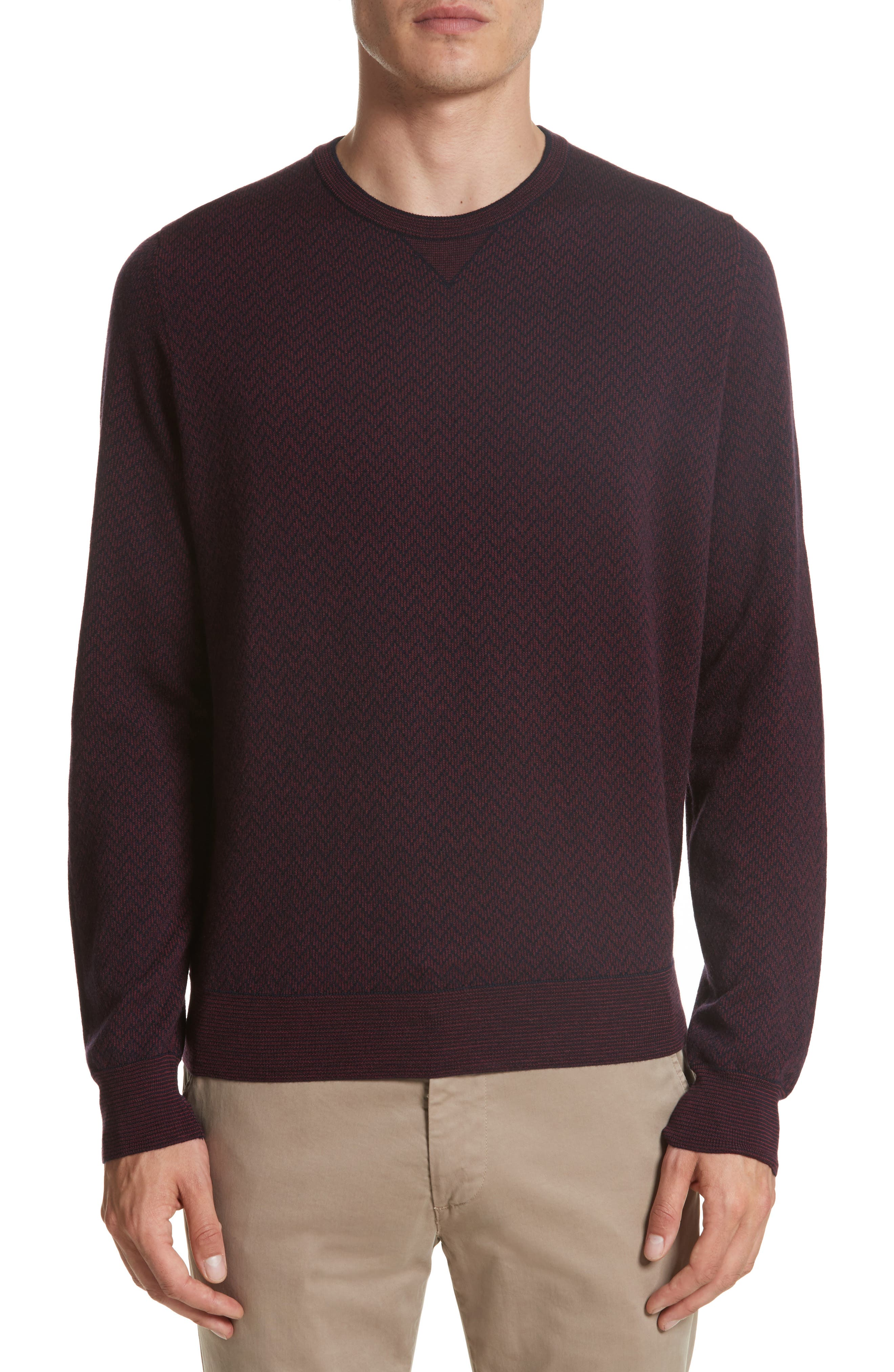 Regular Fit Two-Tone Wool Sweater,                             Main thumbnail 1, color,                             601