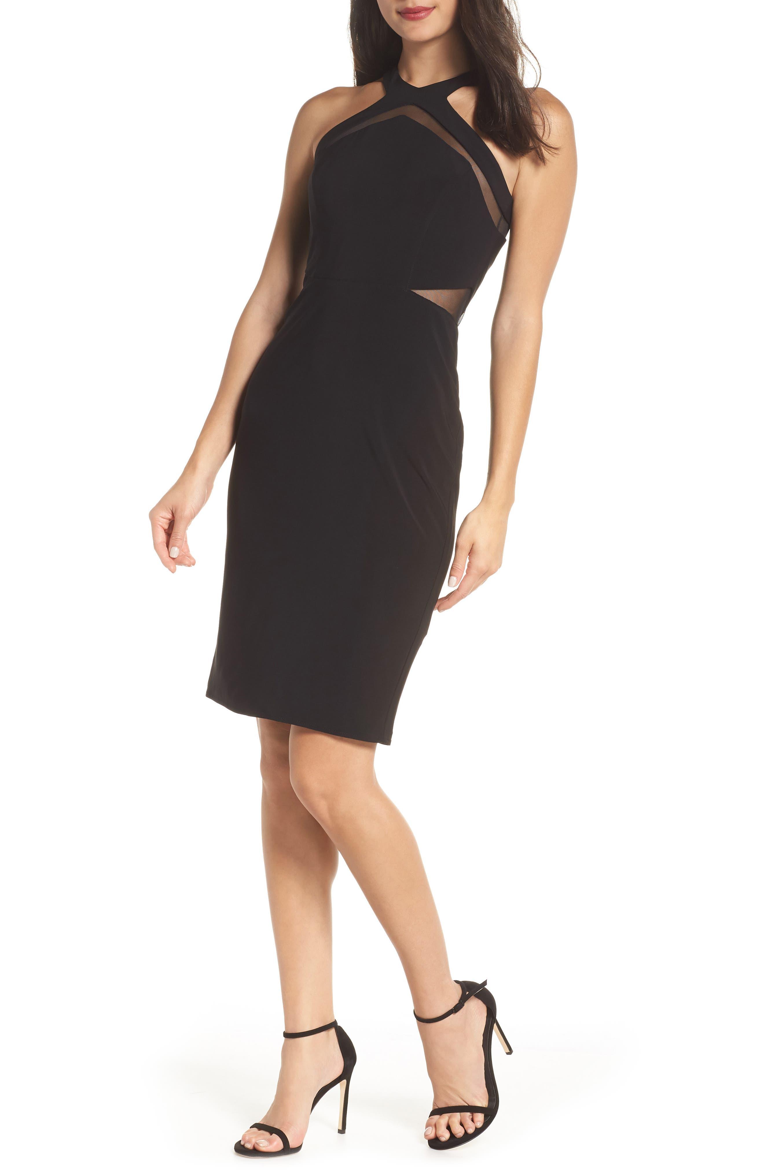 Mesh Inset Sheath Dress,                         Main,                         color, BLACK
