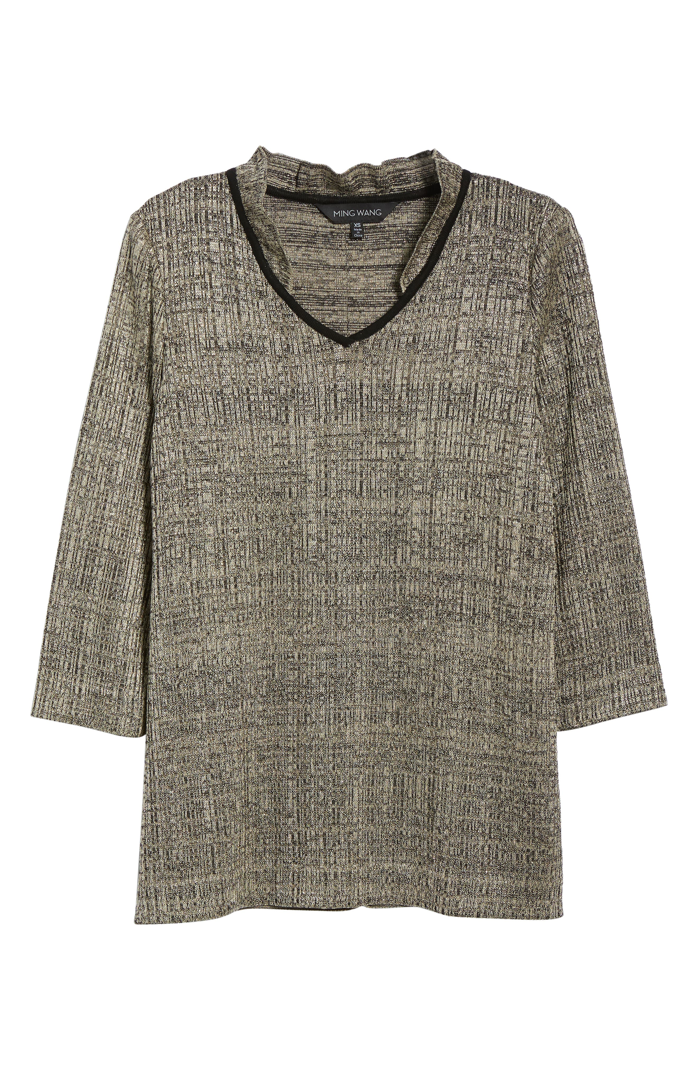 Textured Knit Tunic,                             Alternate thumbnail 6, color,                             CEDAR/ BLACK