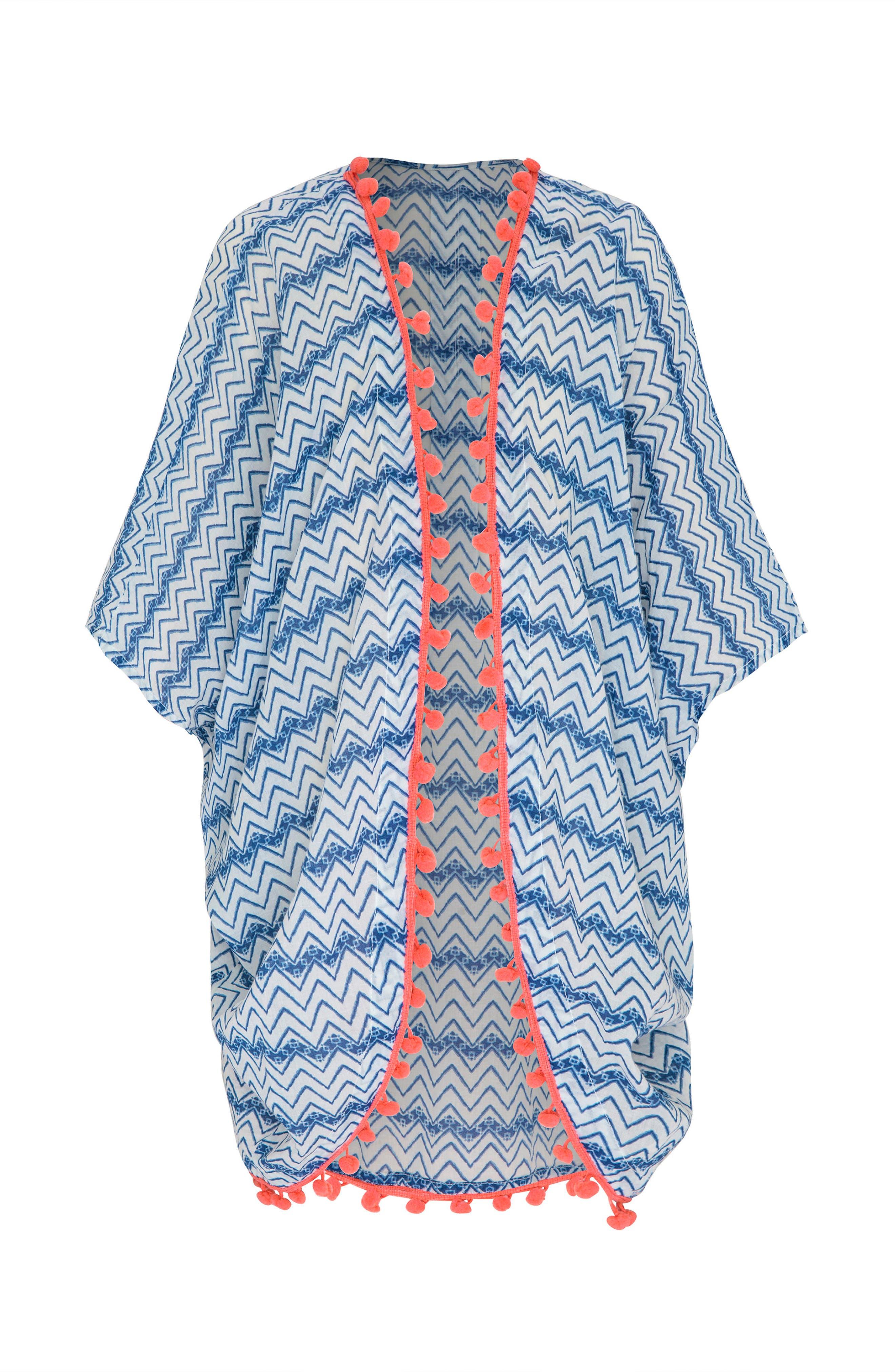 Print Cover-Up Kimono,                             Main thumbnail 1, color,                             INDIGO WAVES