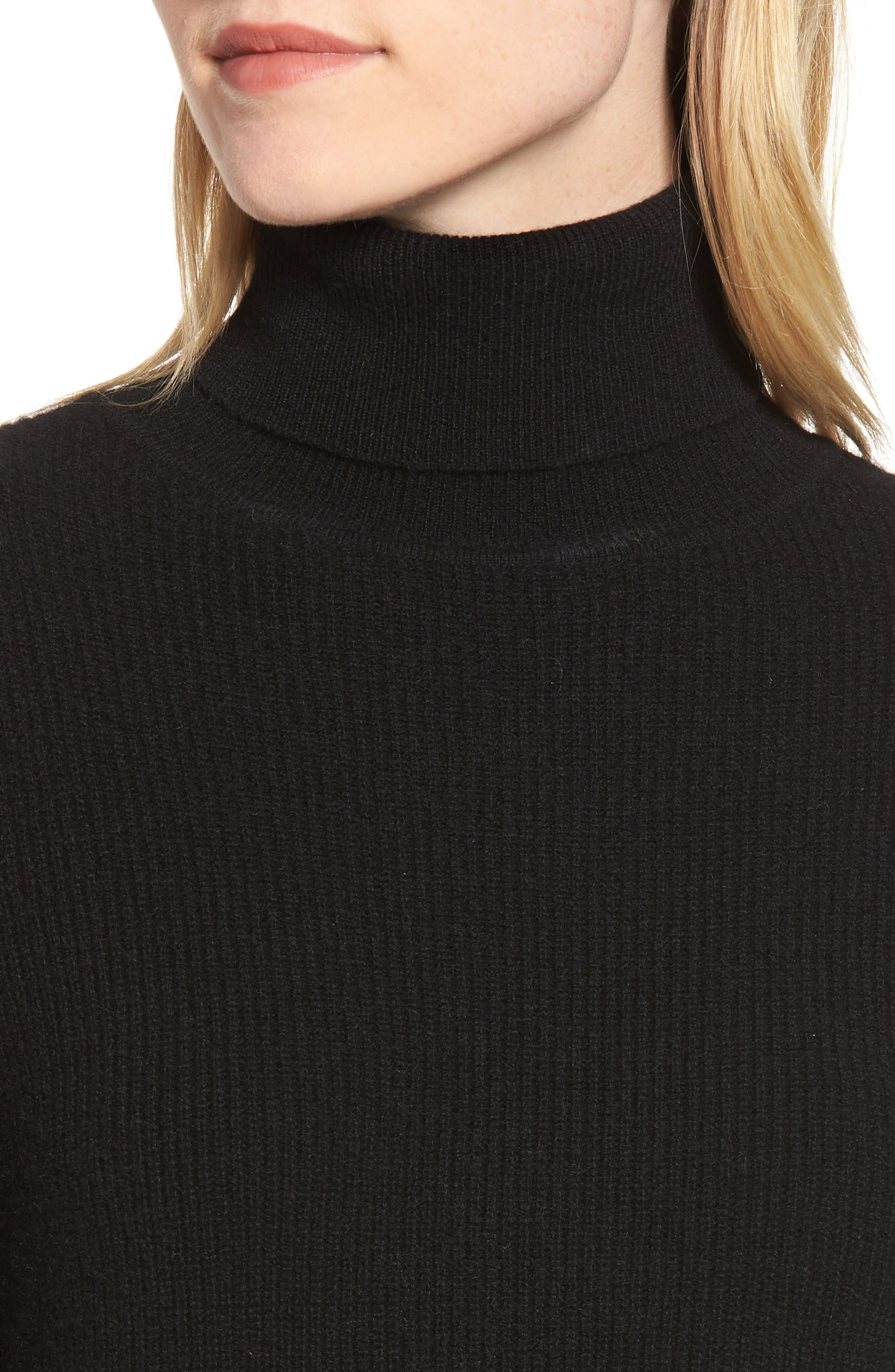Cashmere Puff Sleeve Turtleneck,                             Alternate thumbnail 4, color,                             BLACK