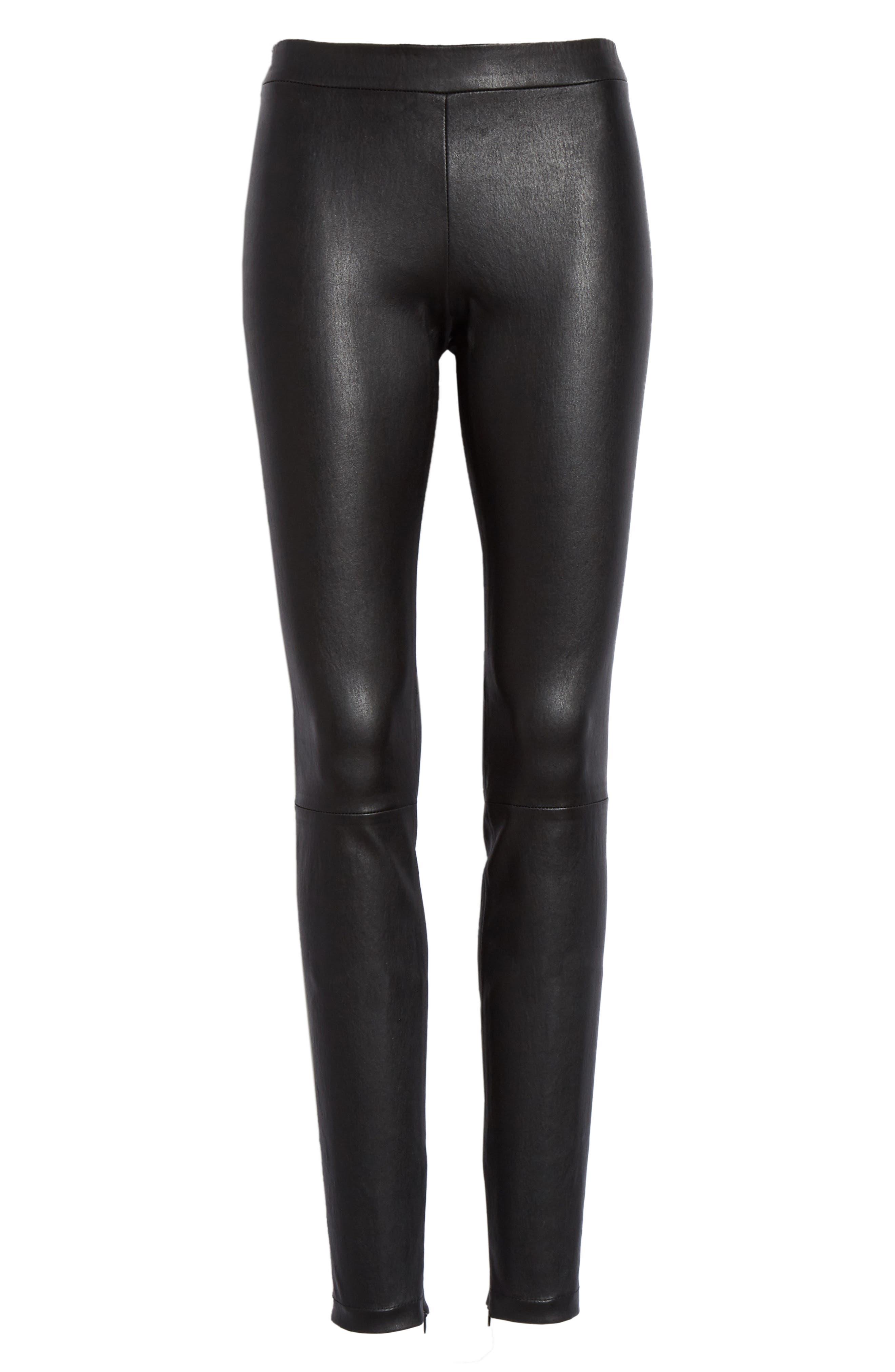 Leather Zip Leggings,                             Alternate thumbnail 7, color,                             BLACK