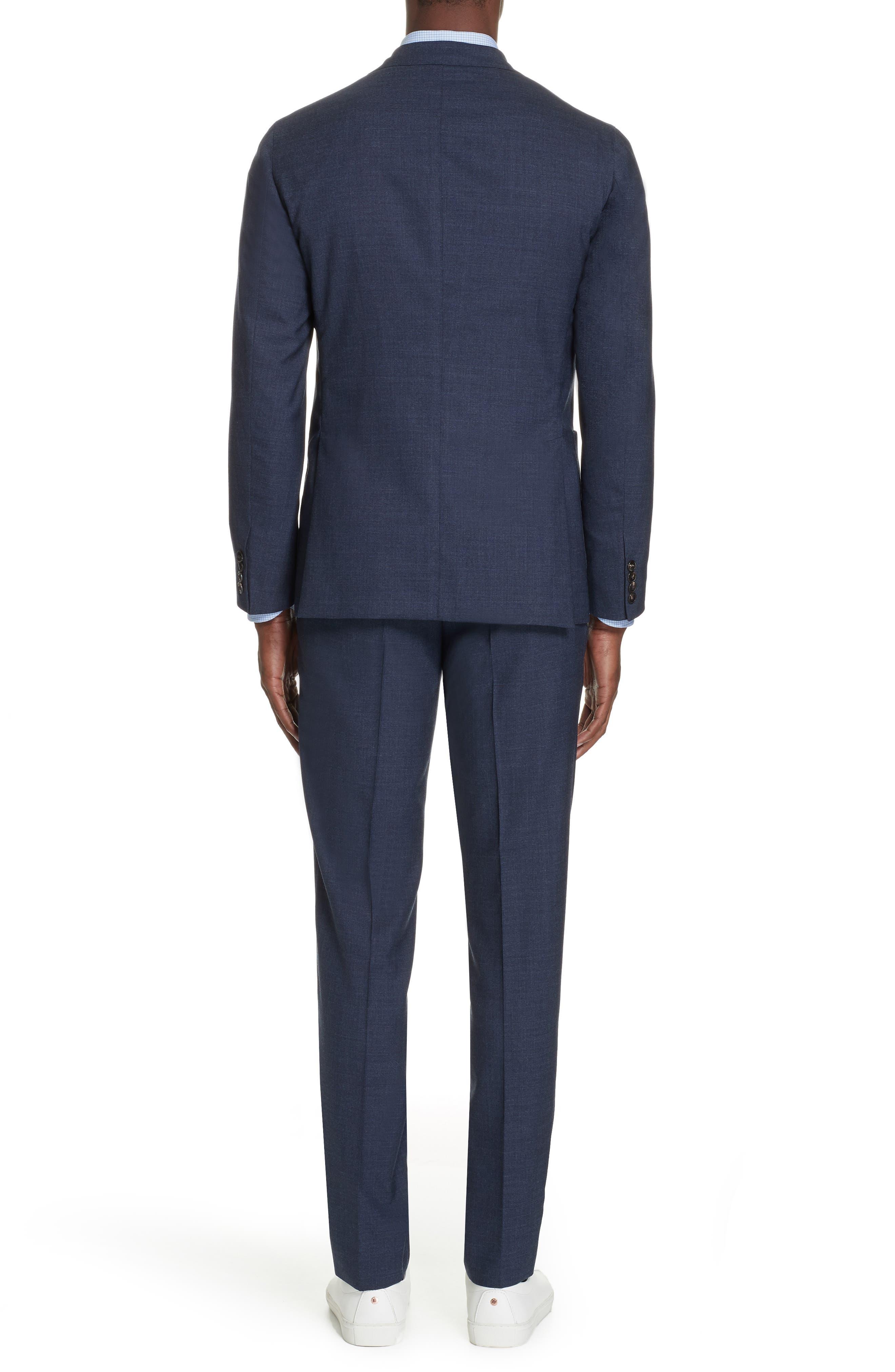 Trim Fit Solid Wool Suit,                             Alternate thumbnail 2, color,                             BLUE