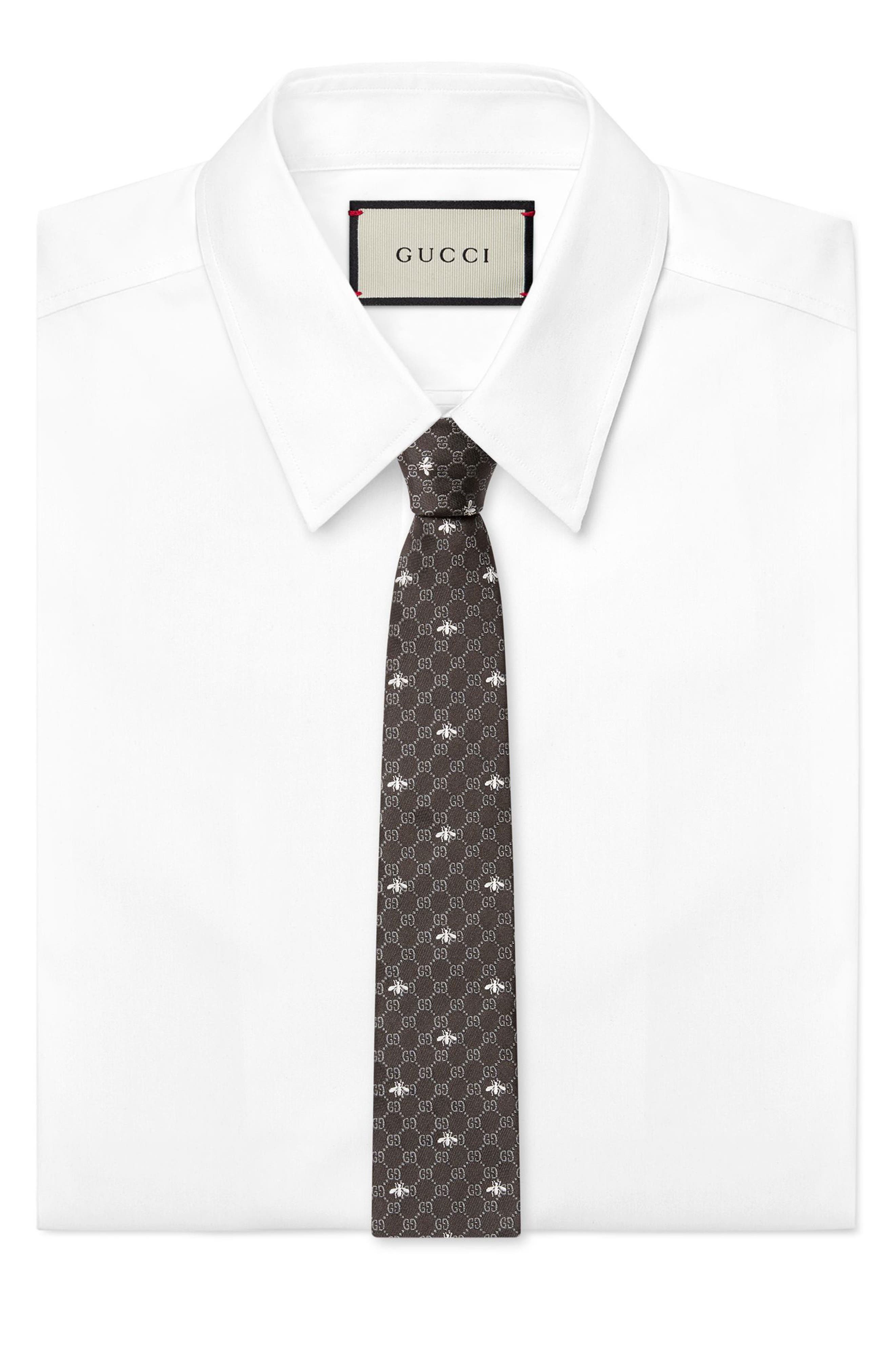 GG Bee Silk Tie,                             Alternate thumbnail 3, color,                             BLACK AND GREY