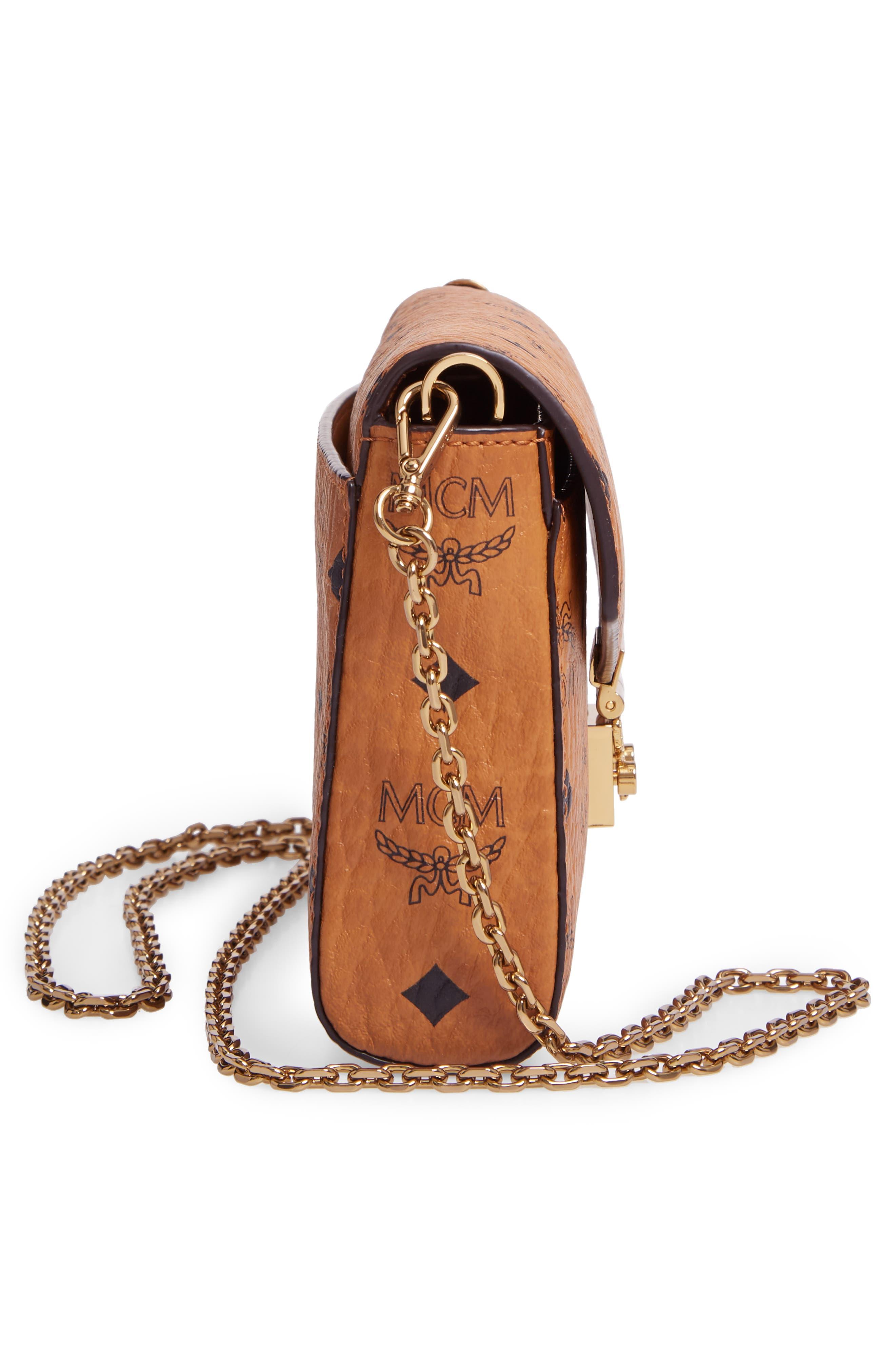 Millie Monogrammed Leather Crossbody Bag,                             Alternate thumbnail 5, color,                             COGNAC BROWN