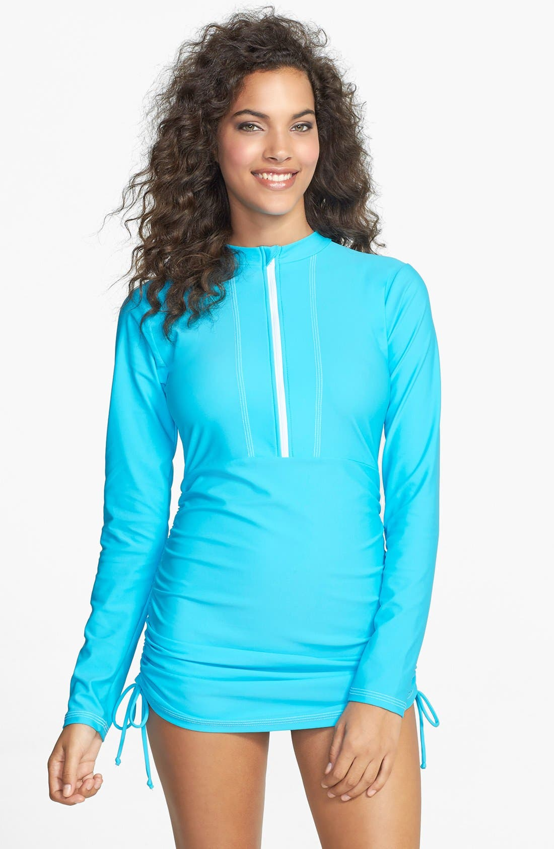 'Sonja' Long Sleeve Half Zip Convertible Swimdress,                             Main thumbnail 8, color,