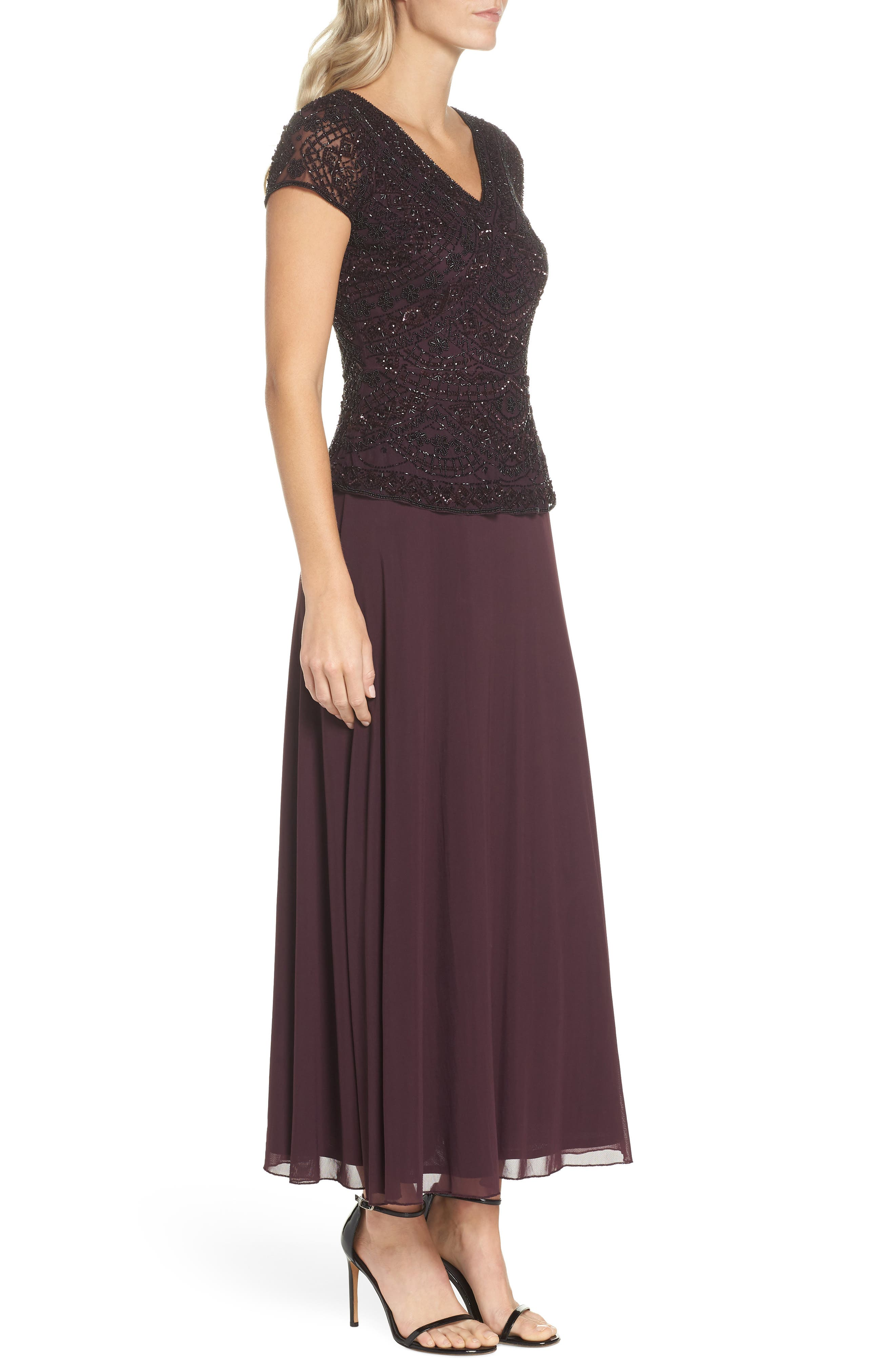 Beaded V-Neck Mock Two-Piece Gown,                             Alternate thumbnail 3, color,                             WINE