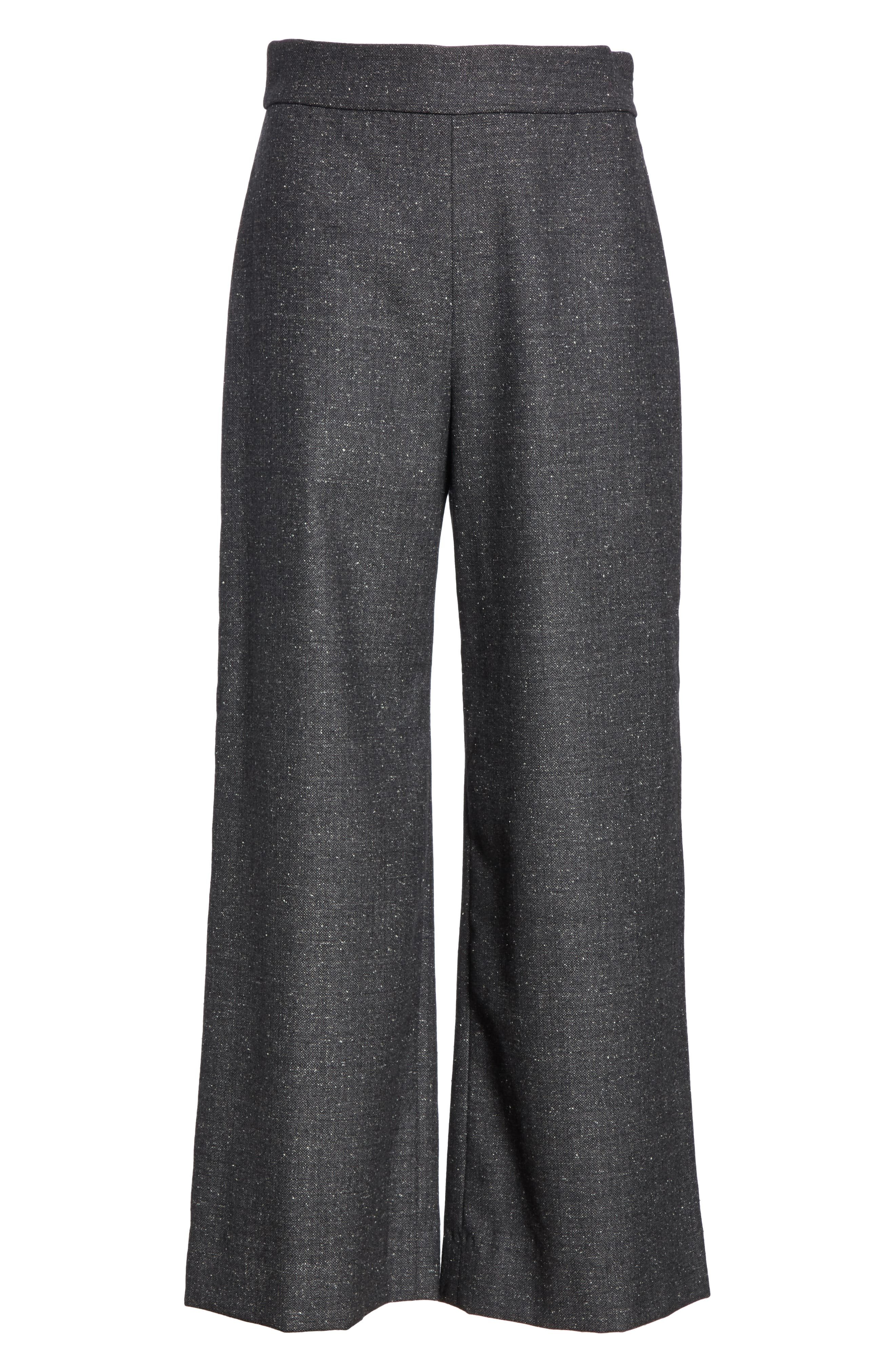 Wide Leg Crop Wool & Silk Blend Trousers,                             Alternate thumbnail 6, color,                             GREY