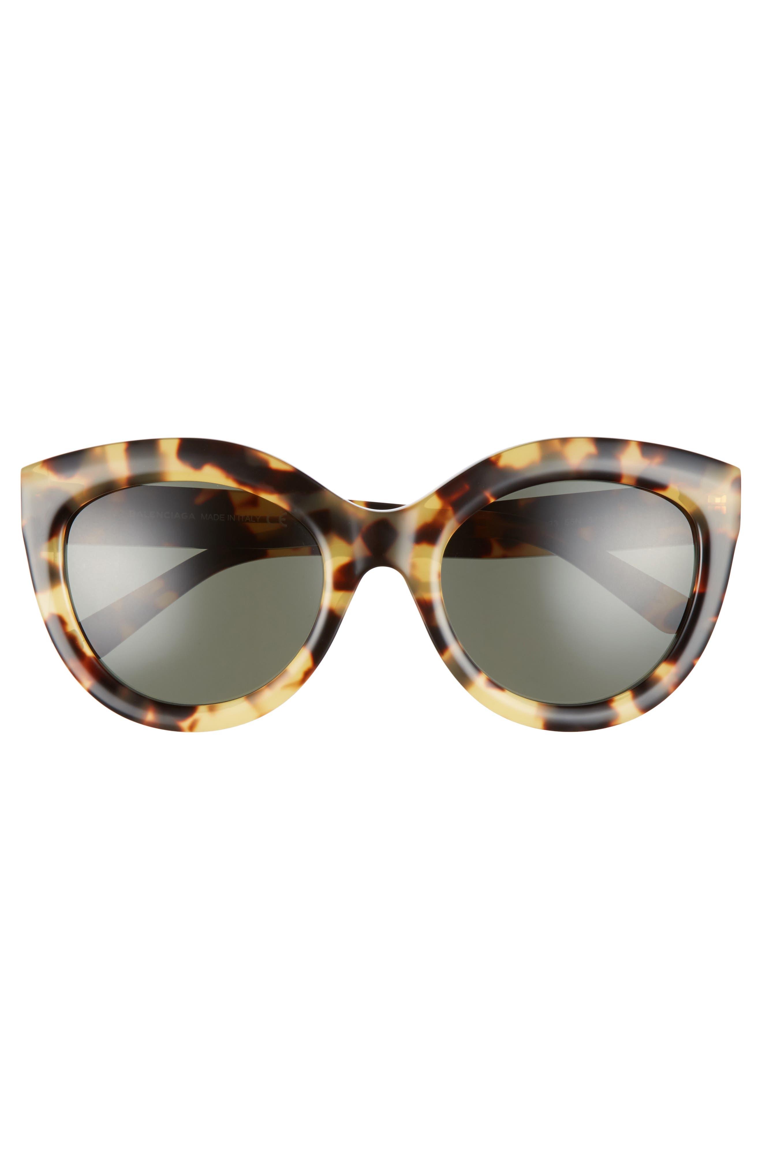 54mm Cat Eye Sunglasses,                             Alternate thumbnail 3, color,                             VINTAGE HAVANA/ GREEN LENS