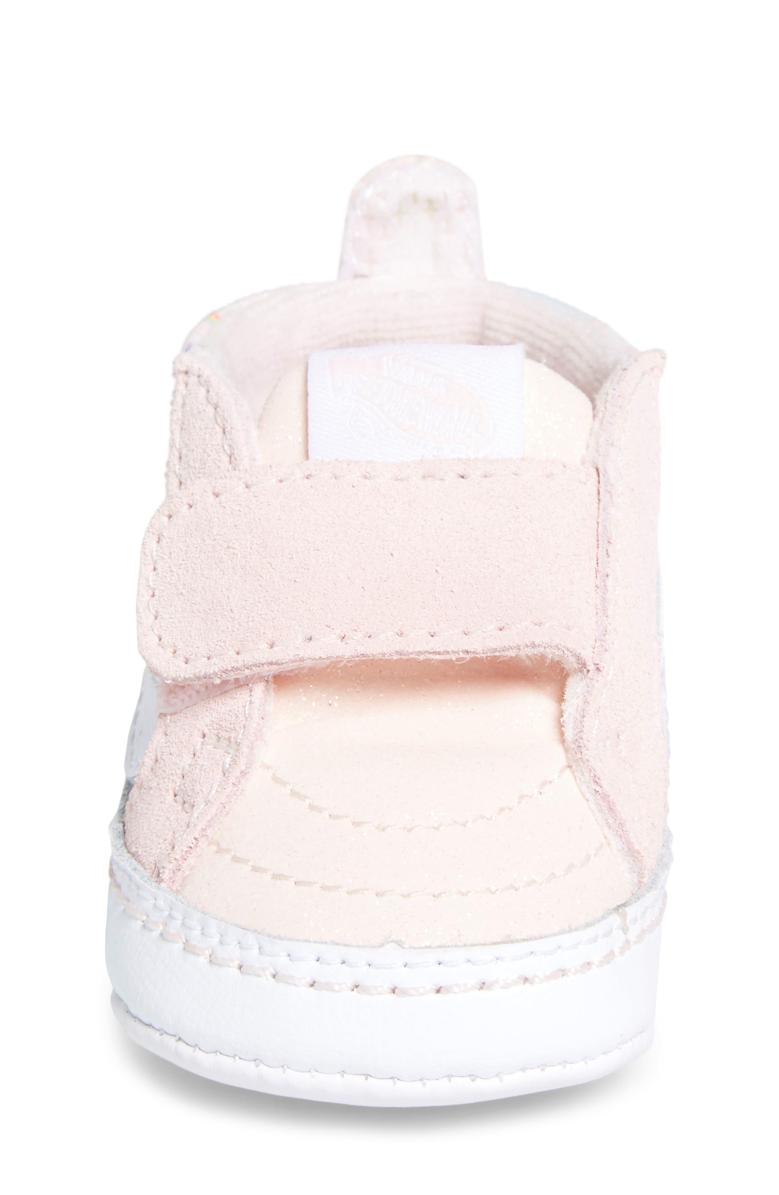 'SK8-Hi' Crib Sneaker,                             Alternate thumbnail 4, color,                             GLITTER PEGASUS PINK/ WHITE