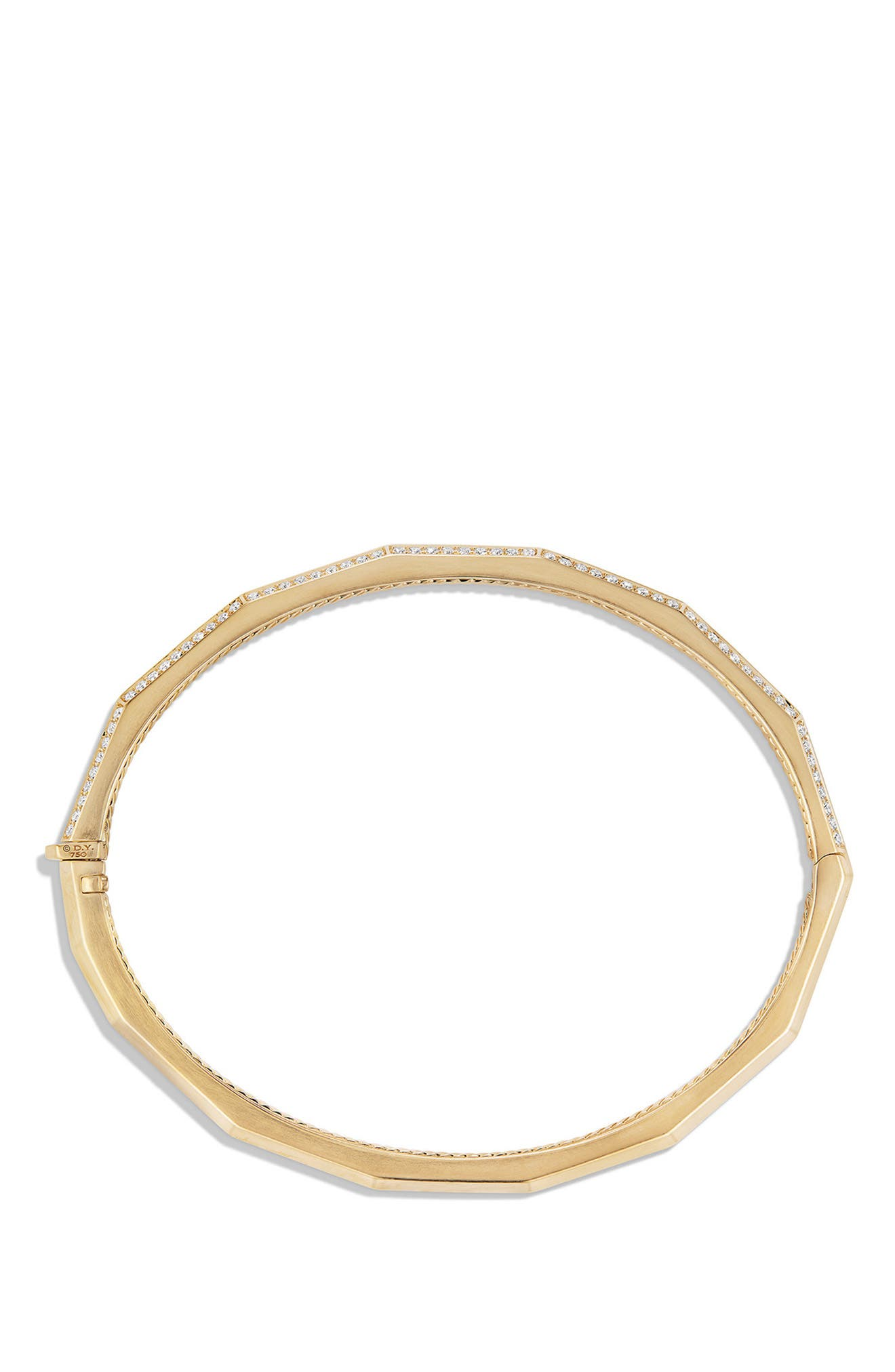 Stax Single-Row Faceted 18K Gold Bracelet with Diamonds, 3mm,                             Alternate thumbnail 2, color,                             YELLOW GOLD