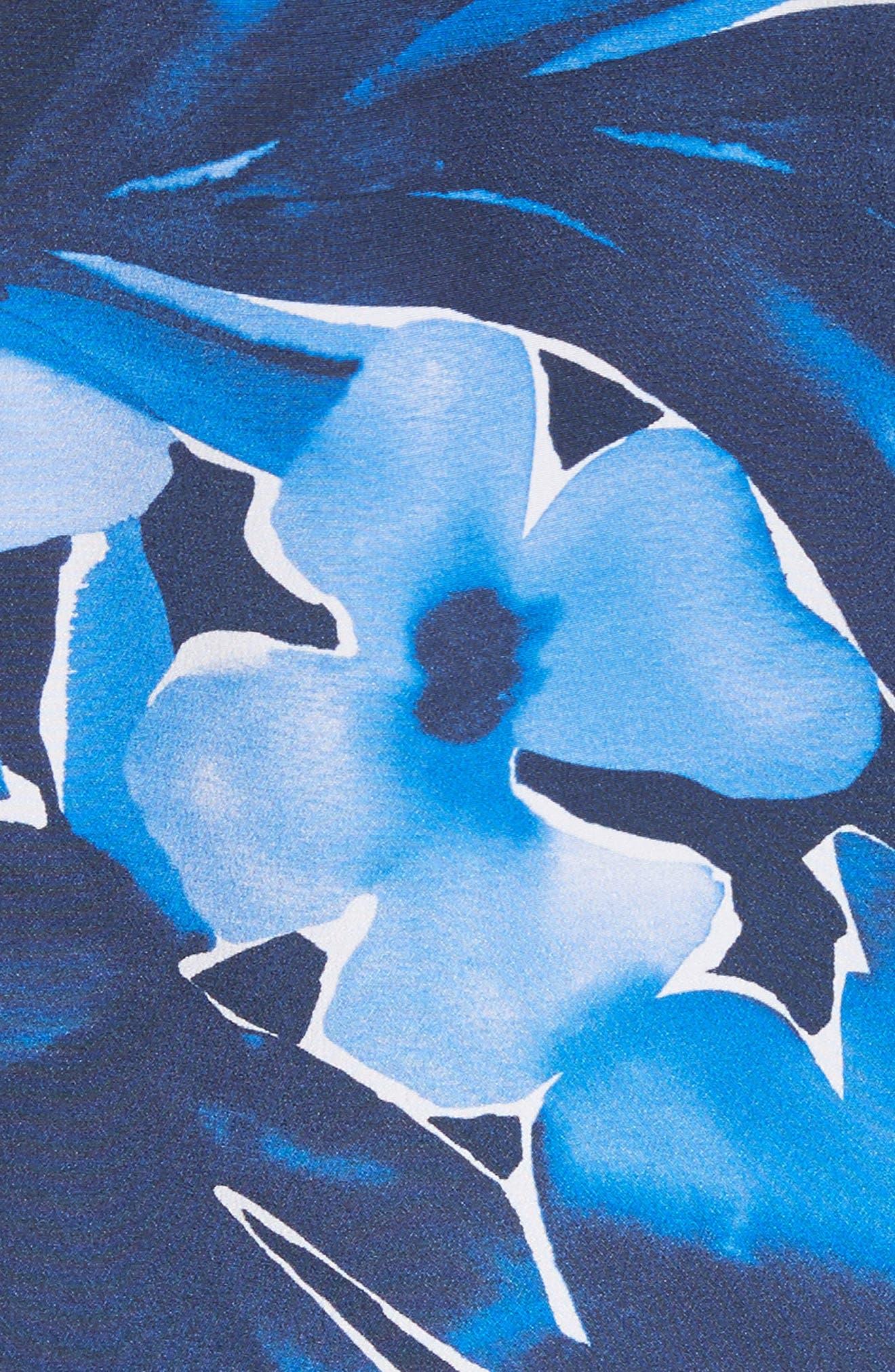 Floral Silk Sarong Dress,                             Alternate thumbnail 6, color,