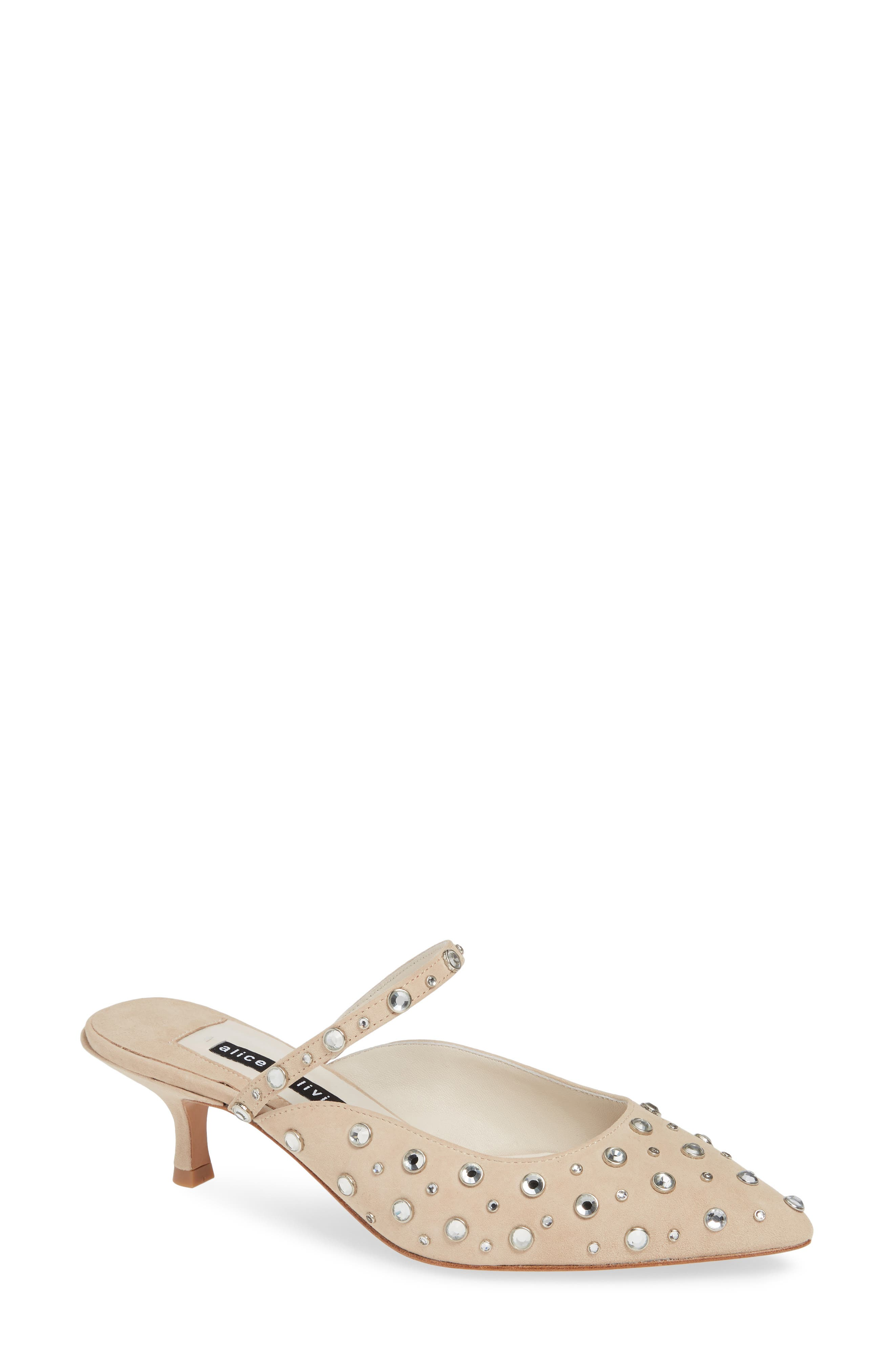 Margo Mirror-Studded Kitten Pumps in Nude