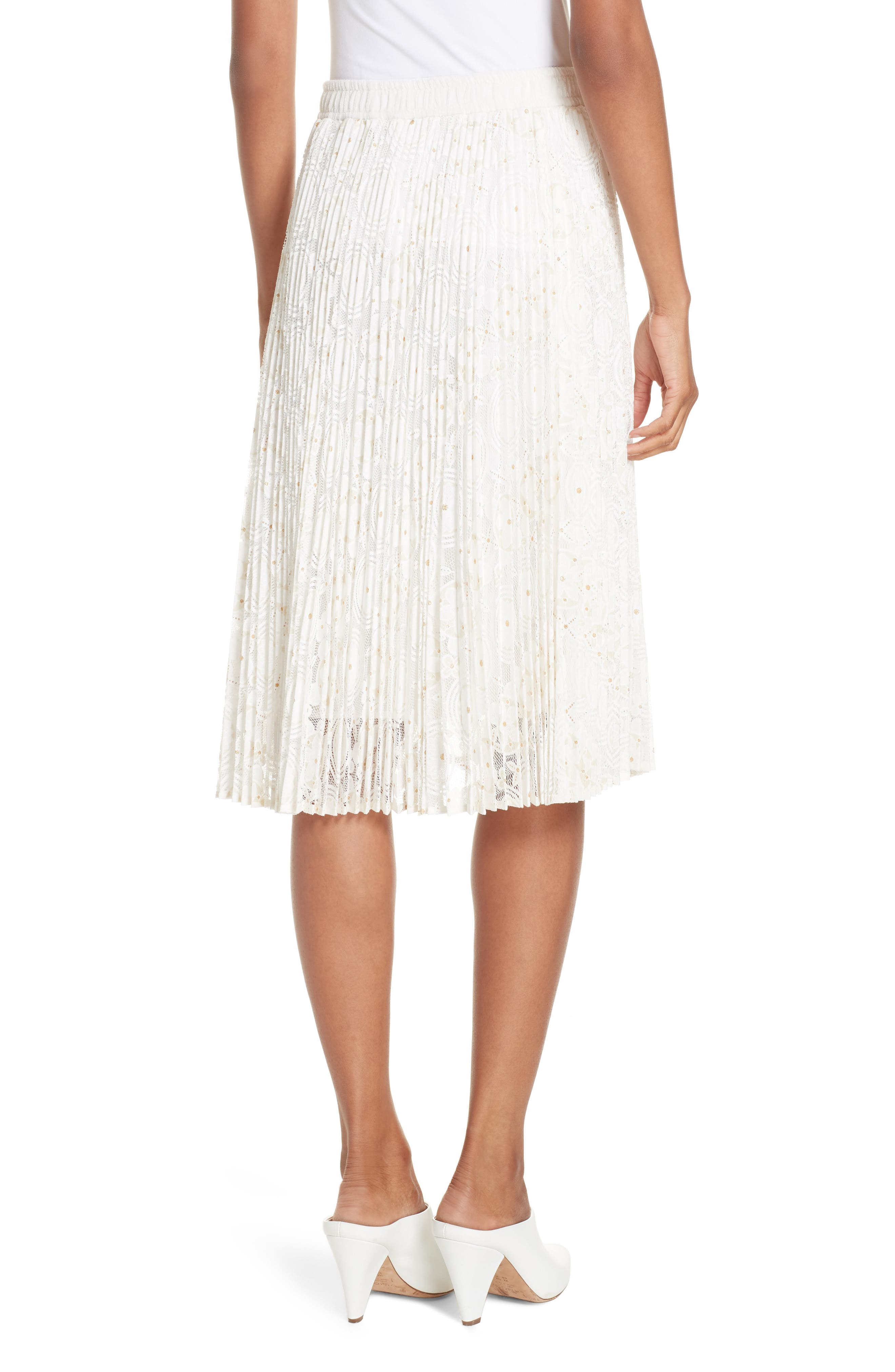 Metallic Floral Lace Pleated Skirt,                             Alternate thumbnail 2, color,                             IVORY