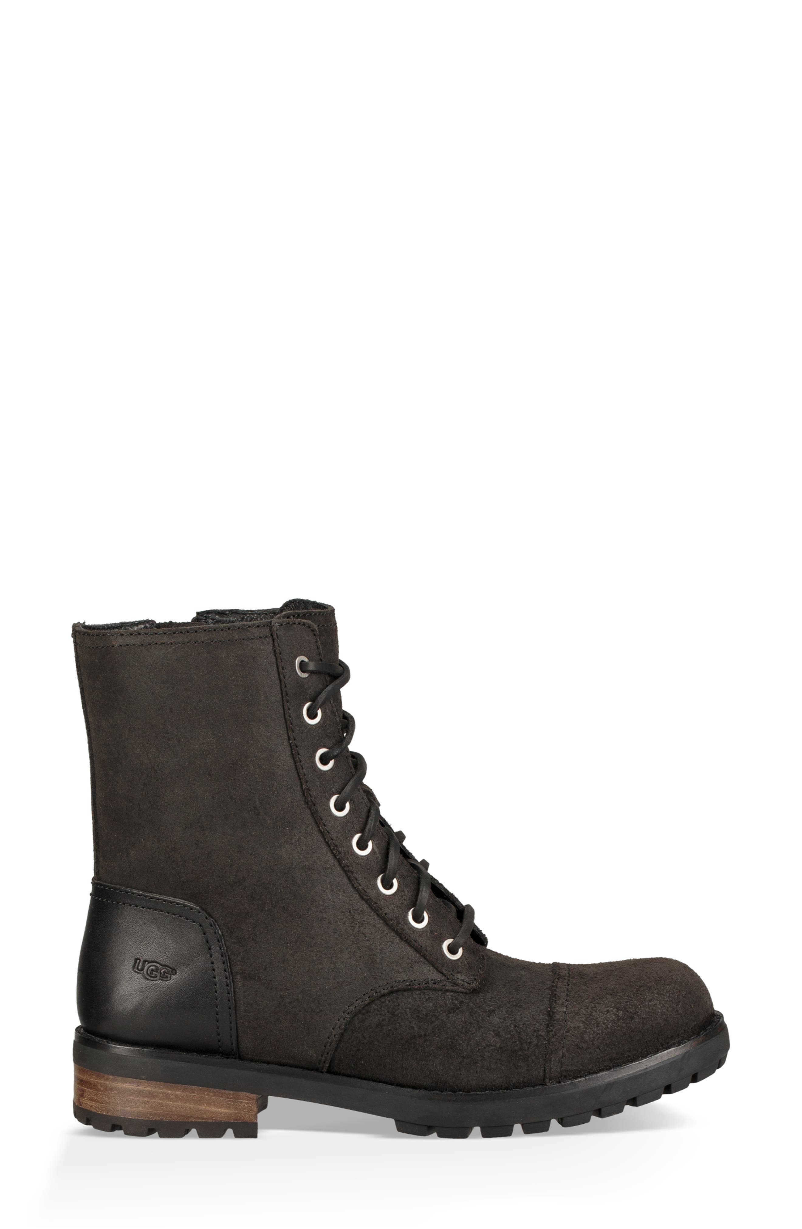 Kilmer II Genuine Shearling Lined Water Resistant Bootie,                             Alternate thumbnail 3, color,                             BLACK LEATHER