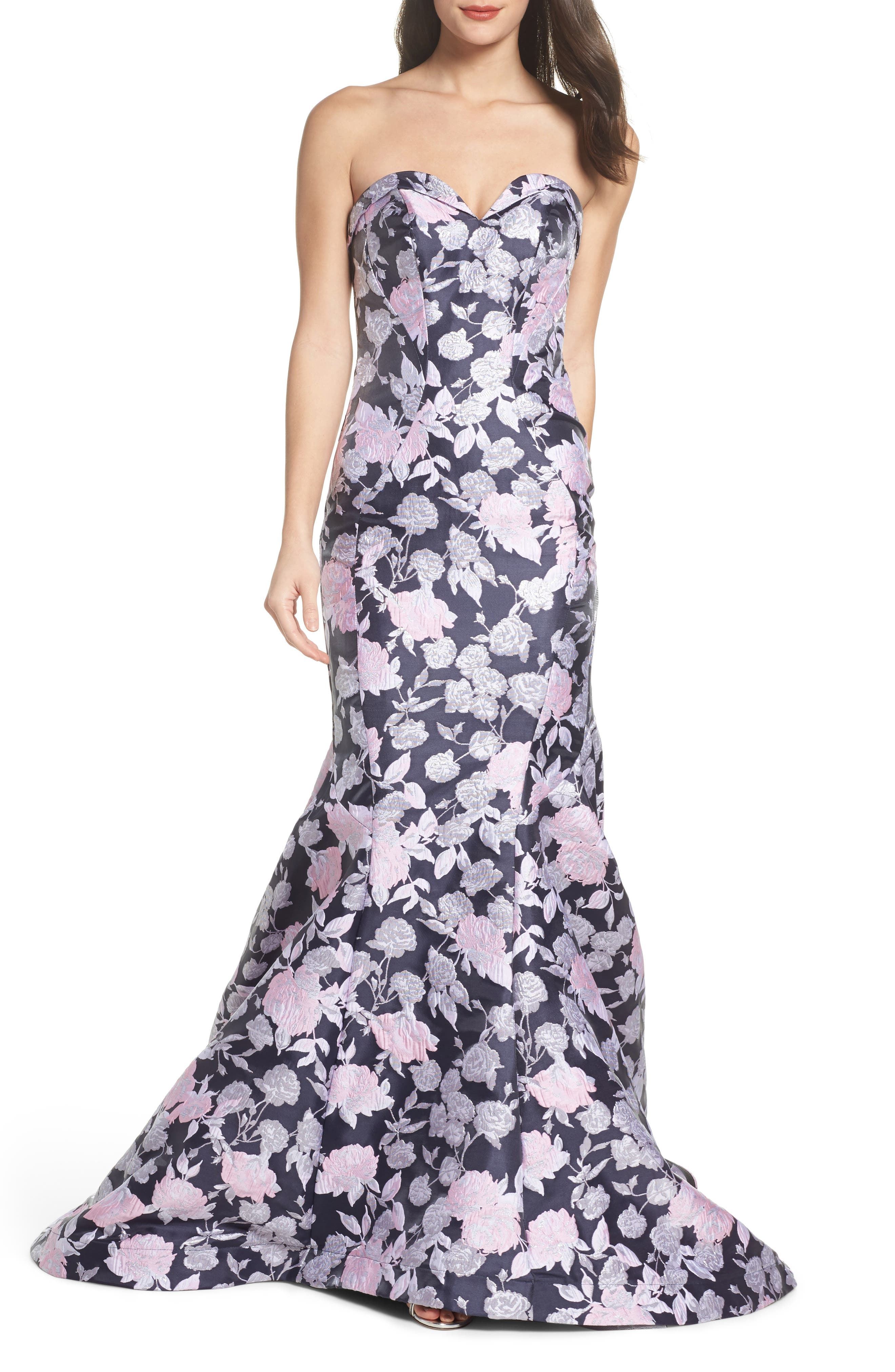 MAC Duggal Floral Jacquard Strapless Mermaid Gown, Blue