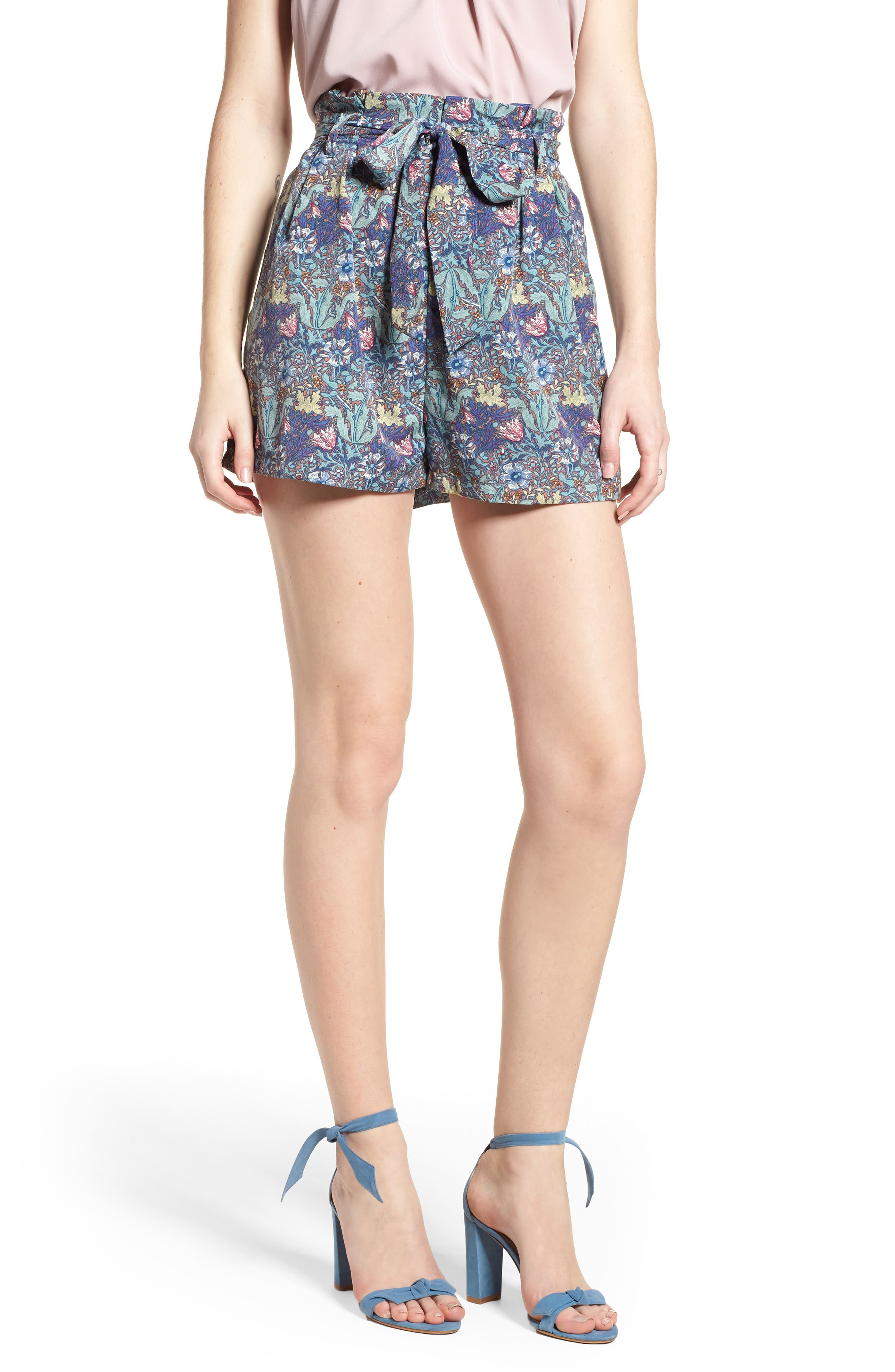 Floral Paperbag Shorts,                         Main,                         color, 400